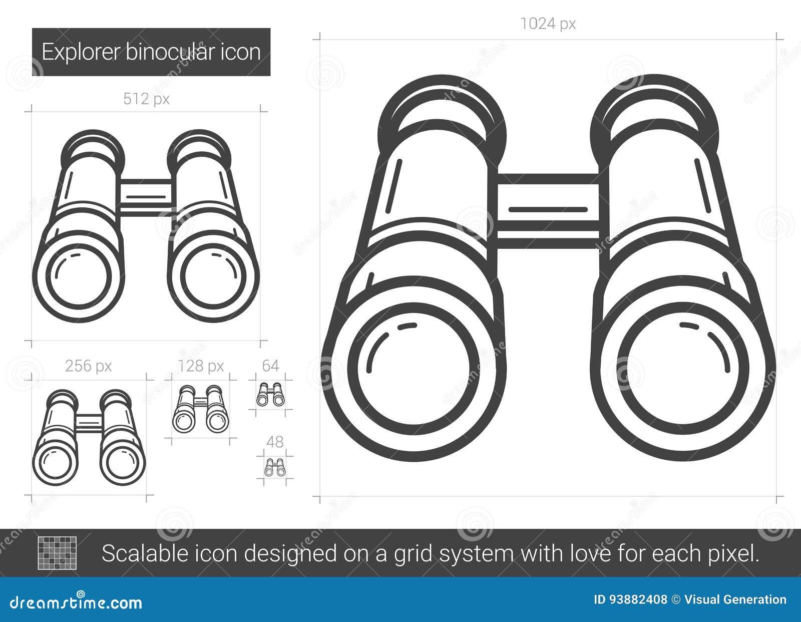 Ligne binoculaire icône d explorateur