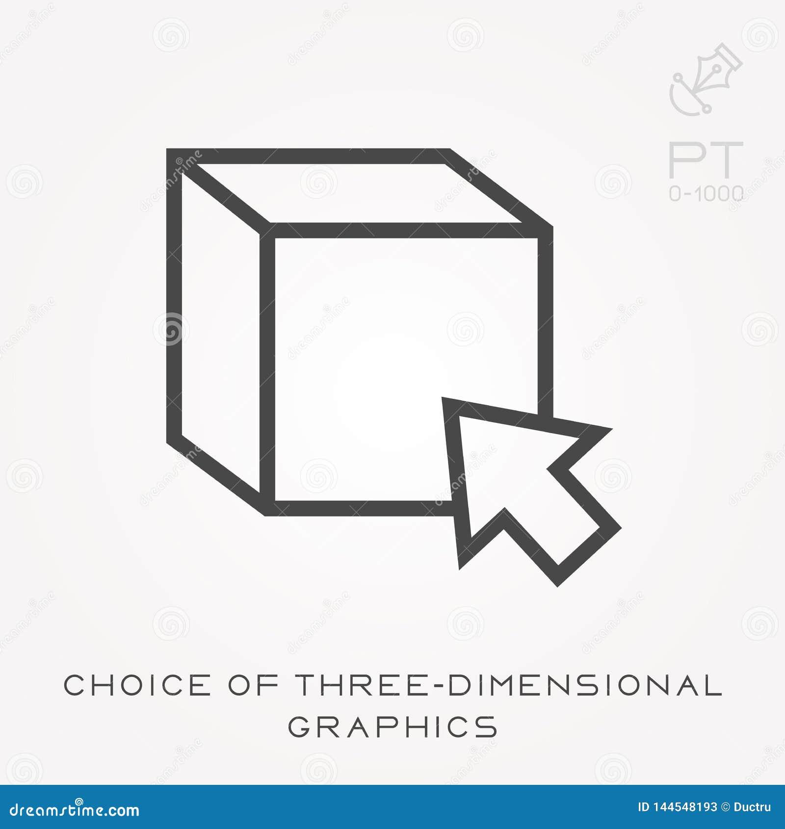 Ligne choix d icône des graphiques tridimensionnels
