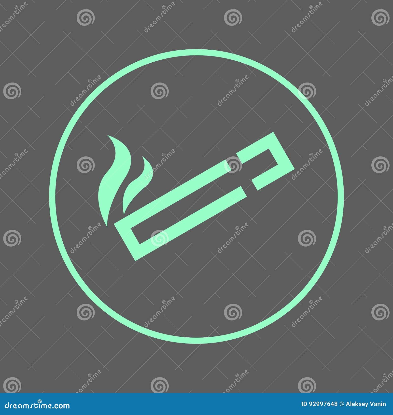 Ligne circulaire icône de zone fumeur Signe coloré rond de cigarette Symbole plat de vecteur de style