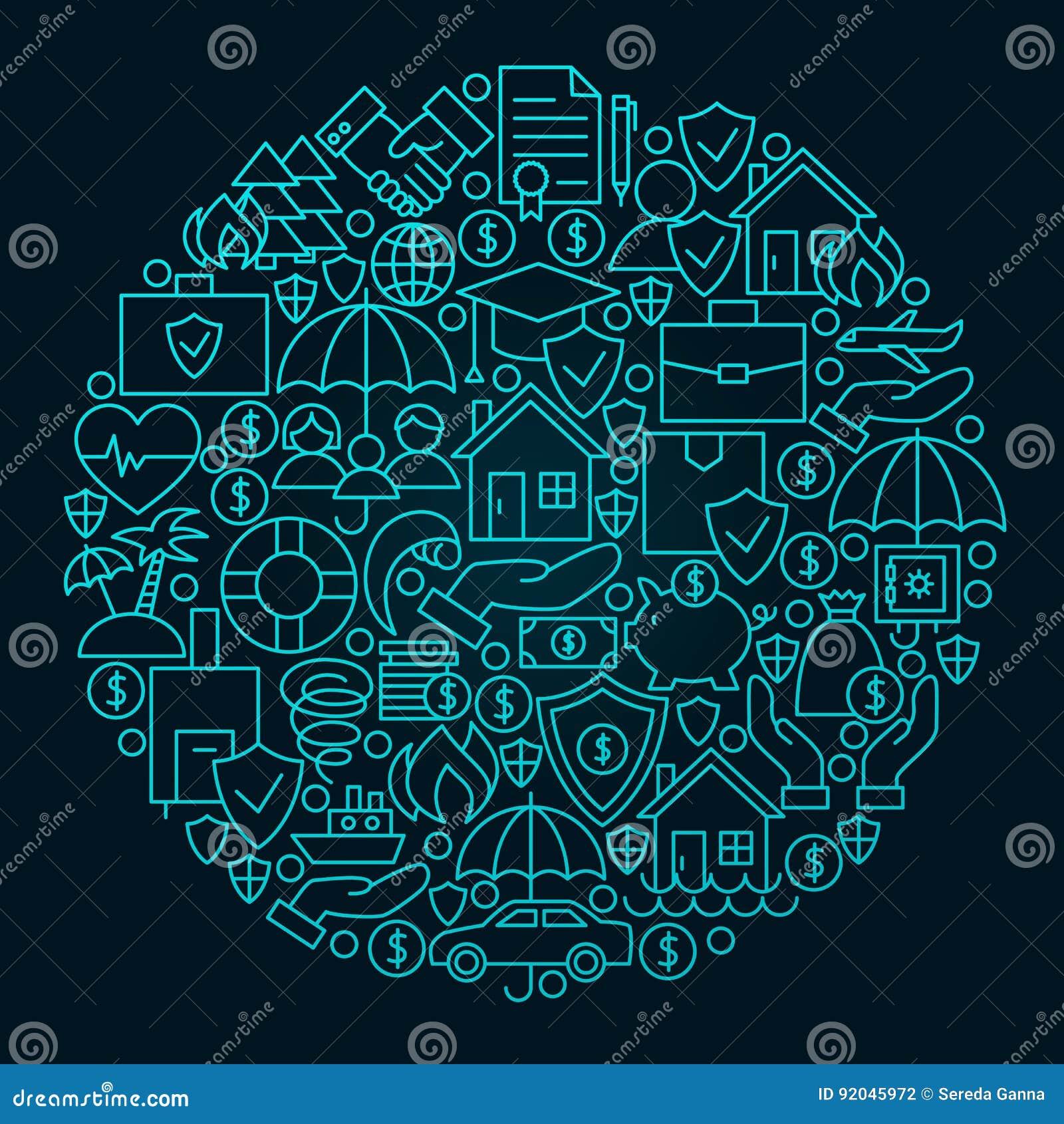 Ligne concept d assurance de cercle d icône