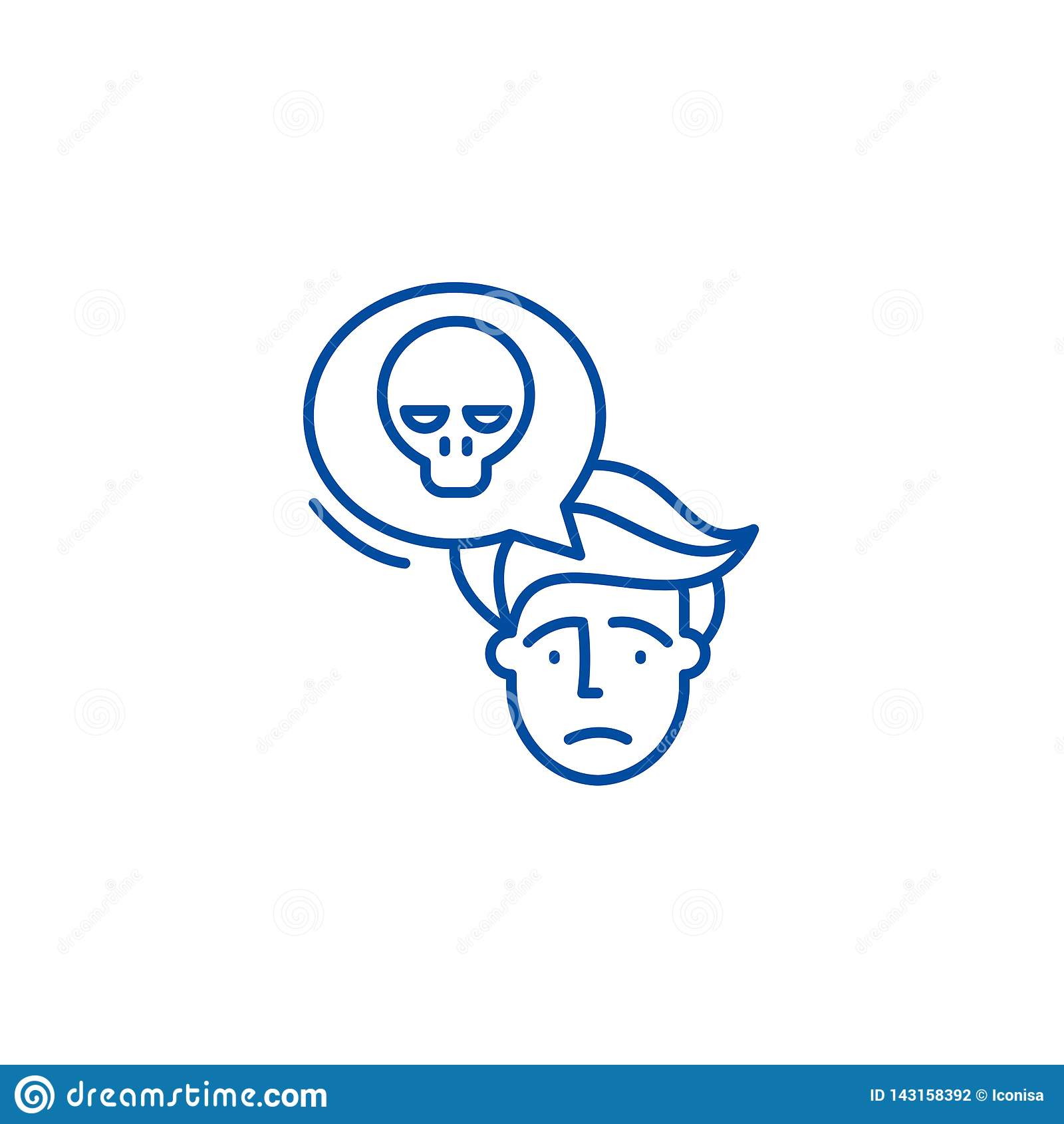 Ligne concept de panique d icône Symbole plat de vecteur de panique, signe, illustration d ensemble