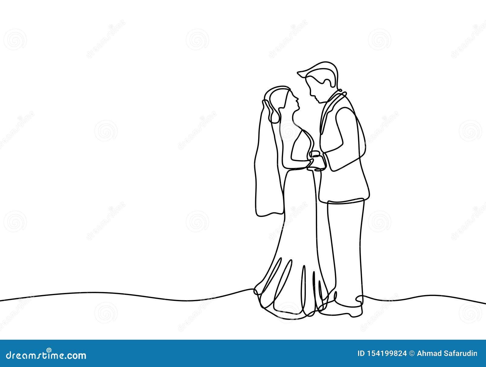 Ligne Continue Couple Dans Le Thème Aimable De Robe De Mariage D Isolement Sur Le Fond Blanc Illustration De Vecteur Illustration Du Mariage Romantique 154199824