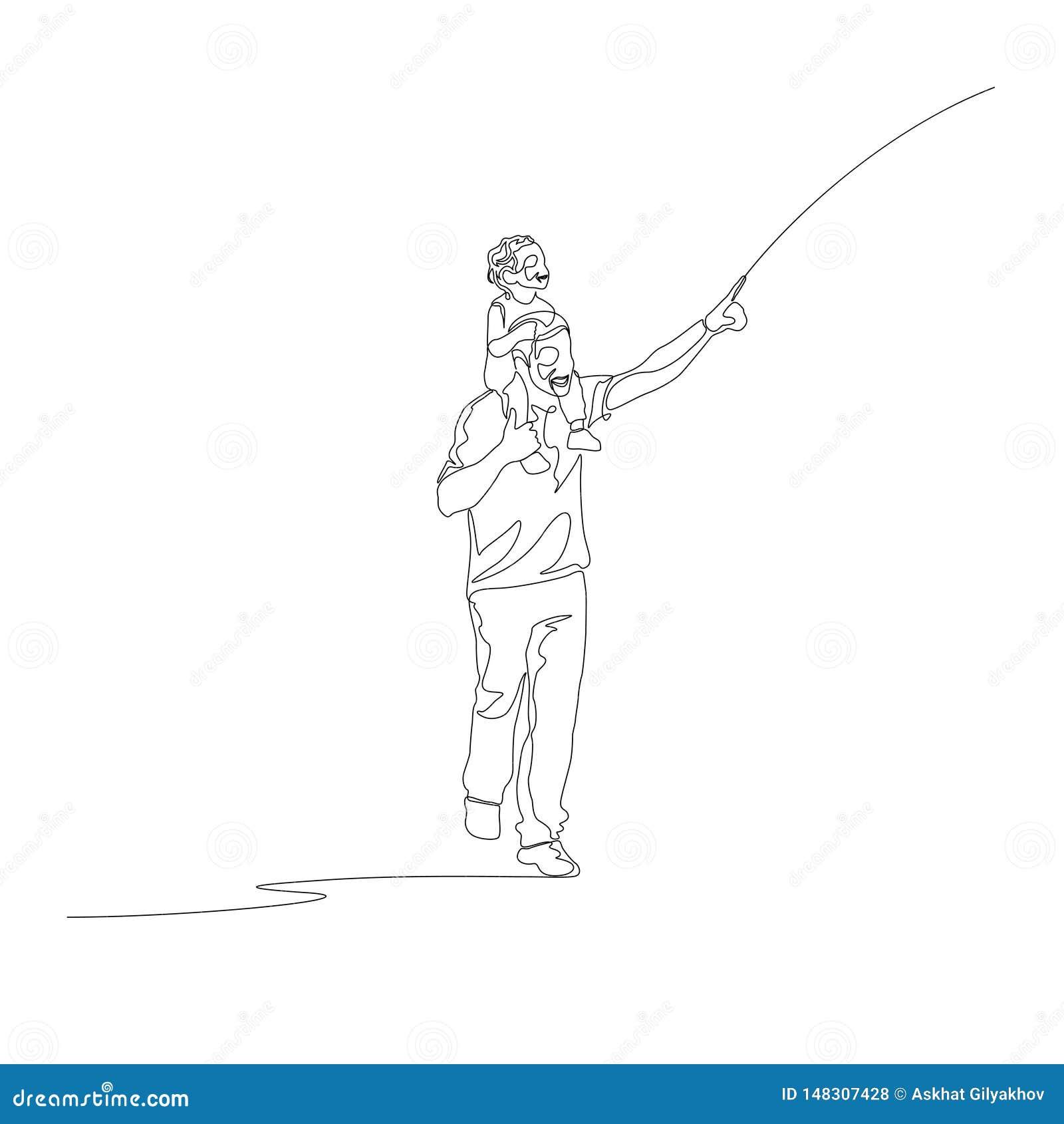 Ligne continue père avec le fils sur son doigt de points d épaules