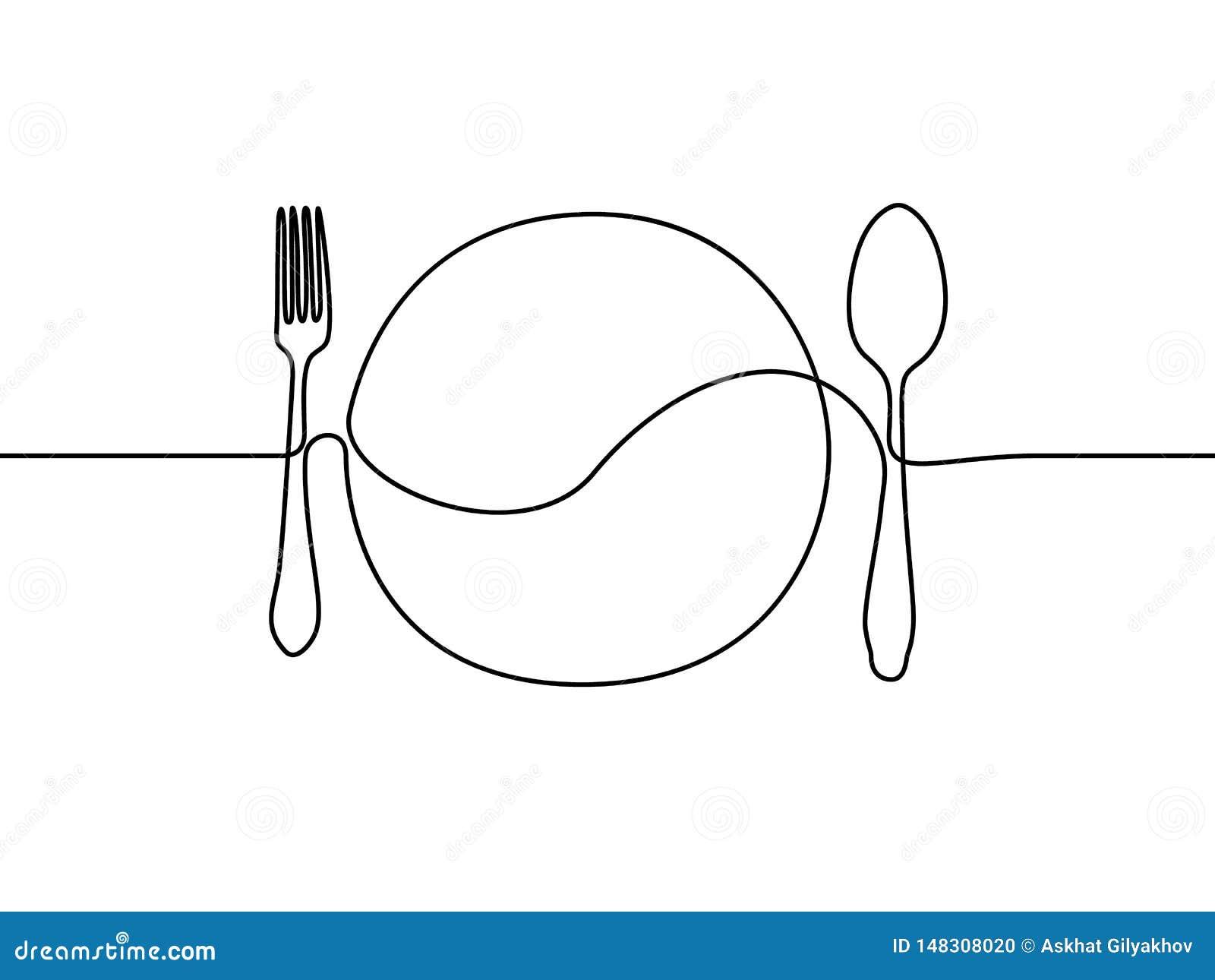 Ligne continue plat, cuillère et fourchette Illustration de vecteur