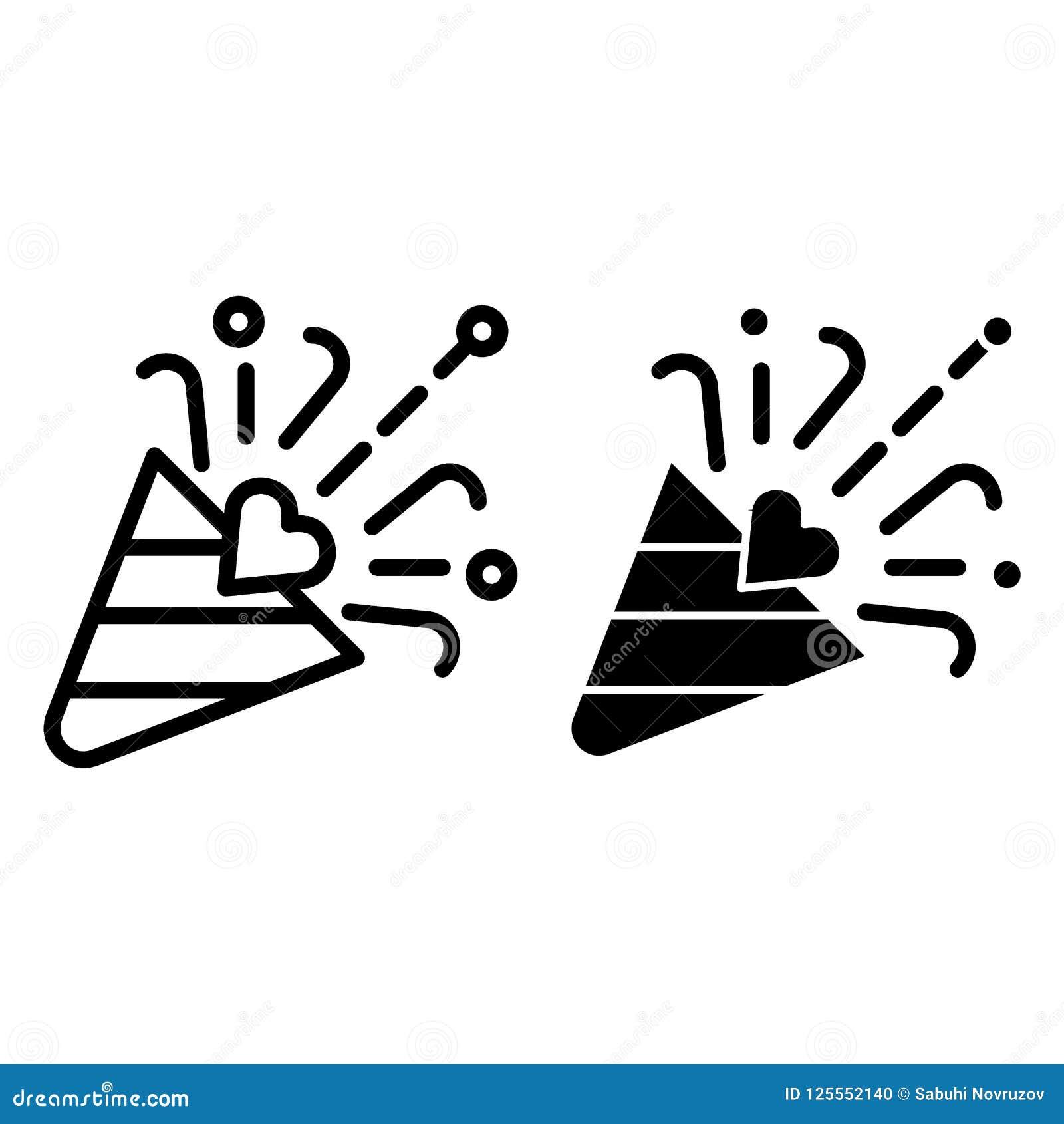 Ligne d aileron et icône de glyph Illustration de vecteur de bouton-pression de confettis d isolement sur le blanc Conception de