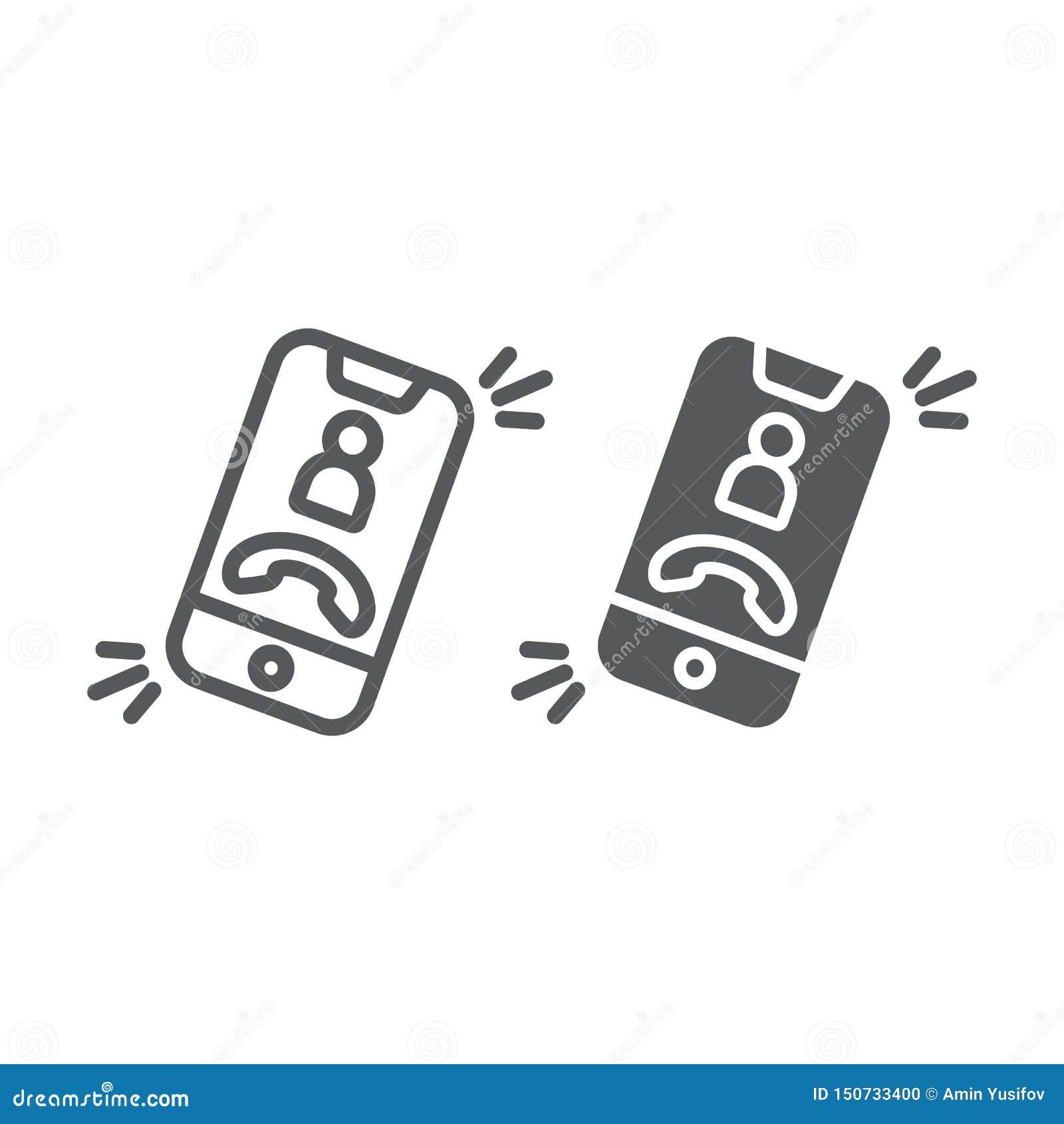 Ligne d appel téléphonique et icône de glyph, téléphone et smartphone, signe d appel d arrivée, graphiques de vecteur, un modèle