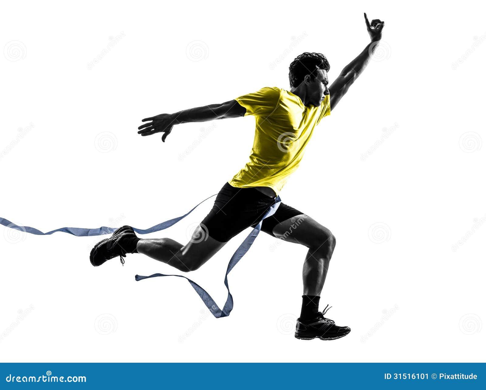 Ligne d arrivée courante de gagnant de coureur de sprinter de jeune homme silhouette