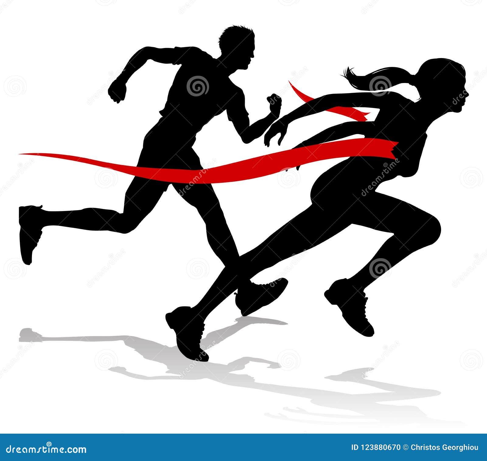 Ligne d arrivée de course de coureur silhouette d athlétisme
