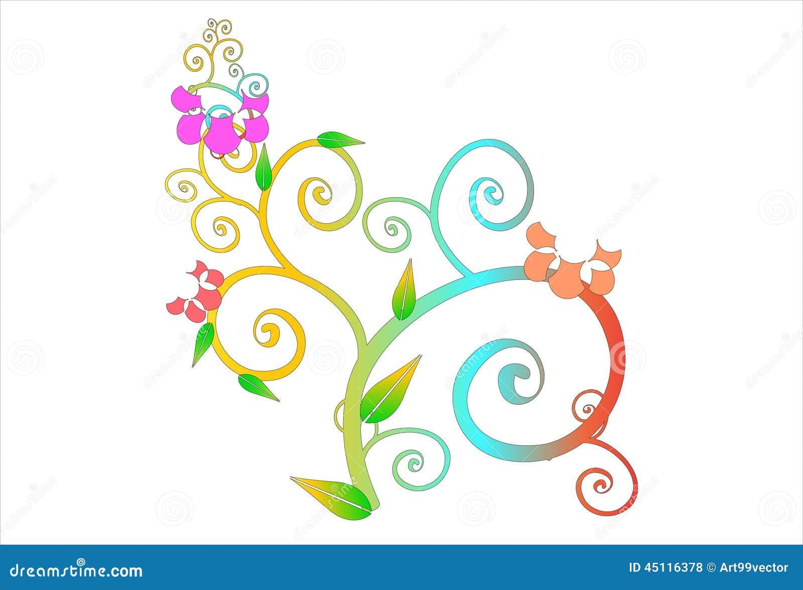 Ligne d 39 art de fleur illustration stock image 45116378 for Ligne de fleurs