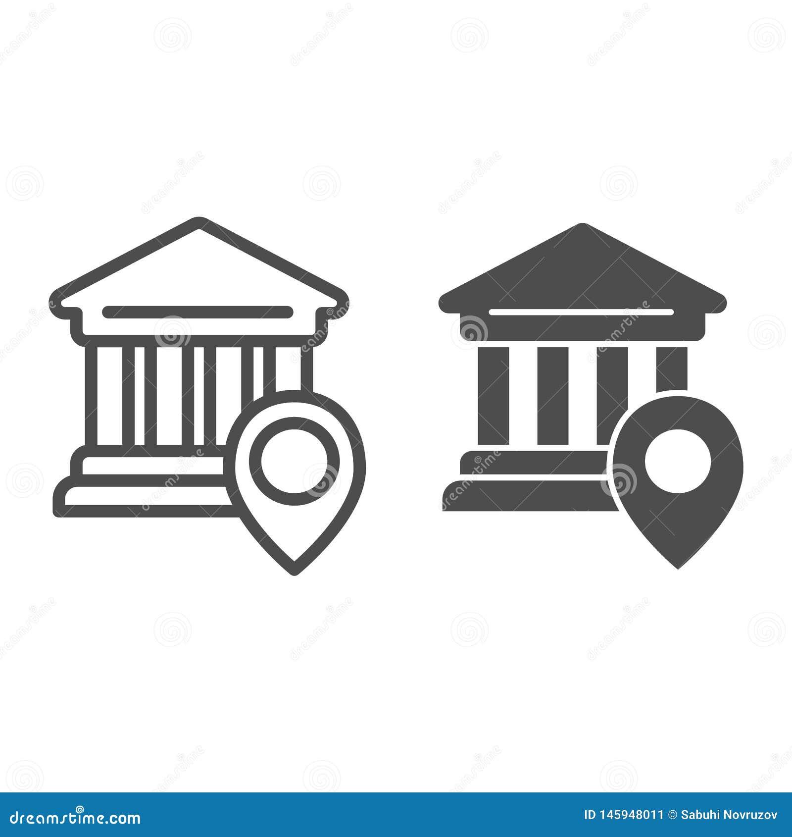 Ligne d emplacement de banque et icône de glyph Illustration de vecteur d emplacement d université d isolement sur le blanc Pin s