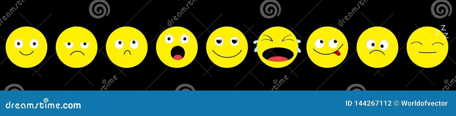 Ligne d ensemble d icône d Emoji émoticônes Personnages de dessin animé drôles de kawaii Collection d émotion Fâché triste pleura