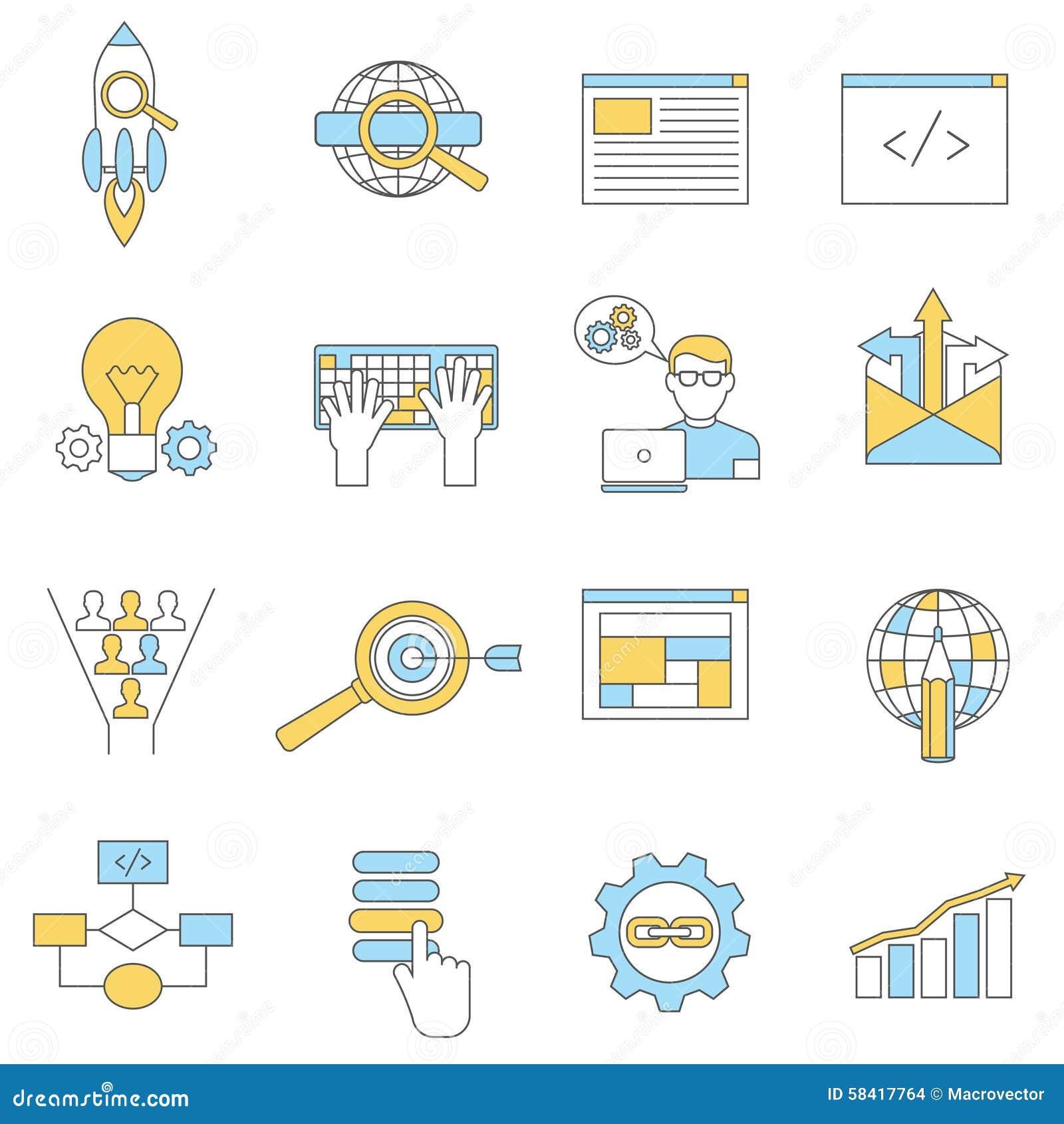 Ligne d icônes de Web