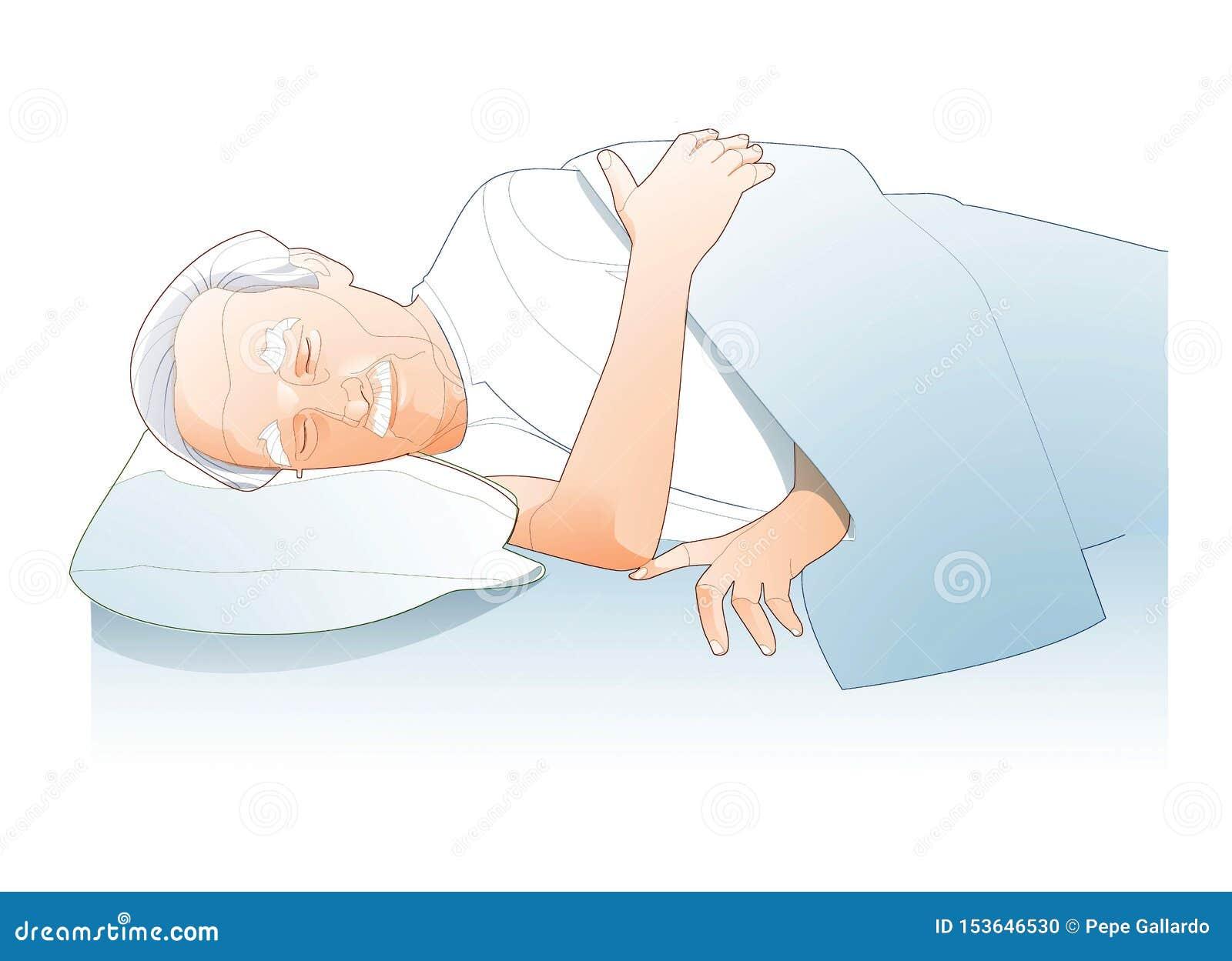 Ligne d illustration du sommeil d homme supérieur