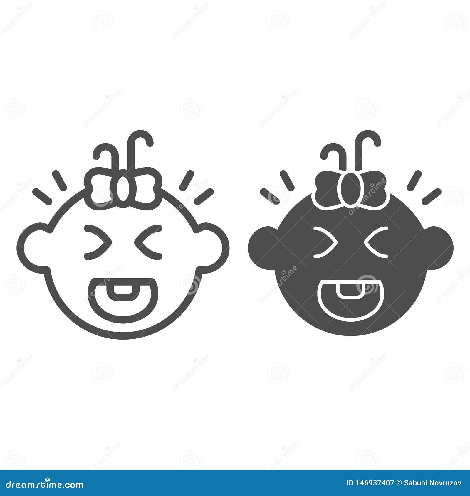 Ligne de bébé et icône pleurantes de glyph Illustration de vecteur de cri d enfant d isolement sur le blanc Conception de style d