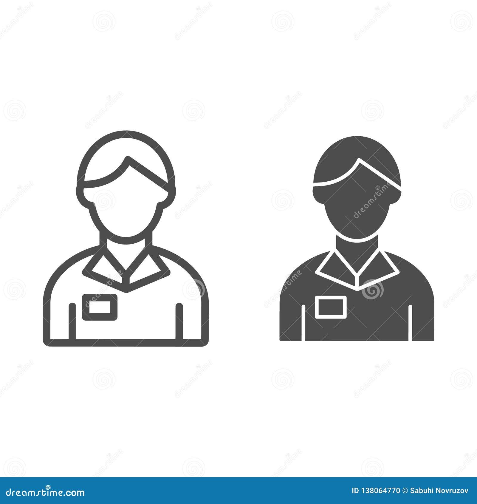 Ligne de banquier et icône de glyph Illustration de vecteur de gestionnaire de comptes d isolement sur le blanc Conception de sty