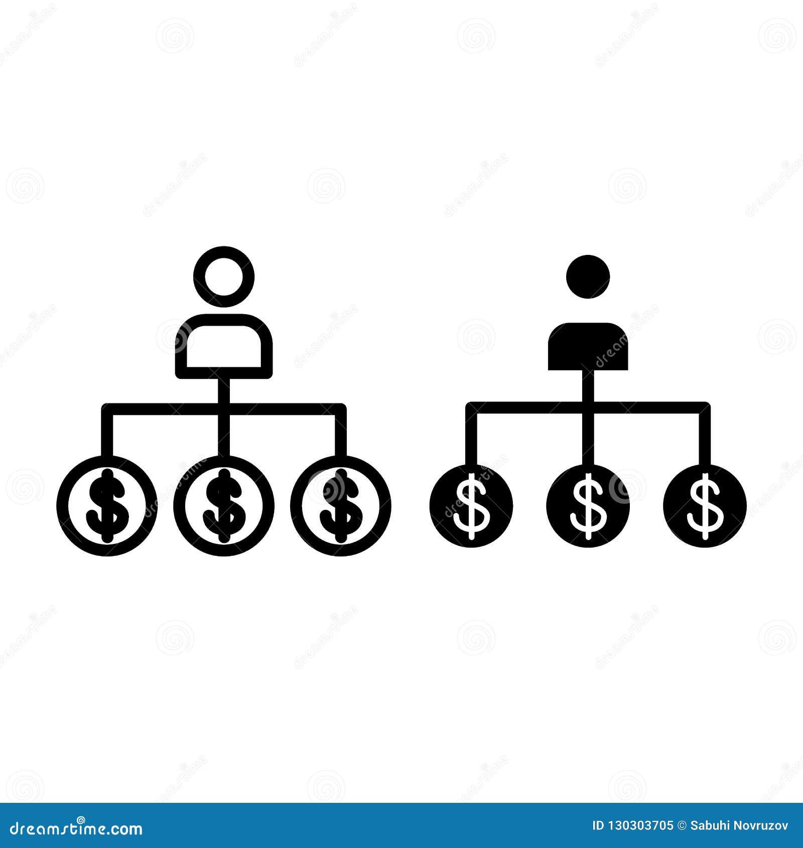 Ligne de banquier et icône de glyph Illustration de vecteur de travailleur de banque d isolement sur le blanc Style d ensemble de