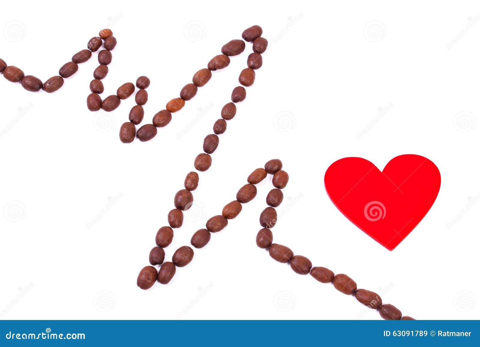 Download Ligne De Cardiogramme Des Graines De Café Rôties Et Du Concept Rouge De Coeur, De Médecine Et De Soins De Santé Image stock - Image du haricots, médical: 63091789