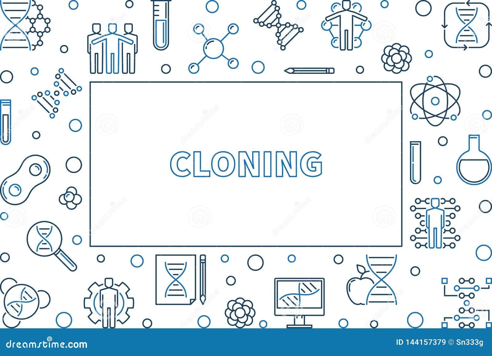 Ligne de clonage cadre ou illustration horizontal de vecteur de concept