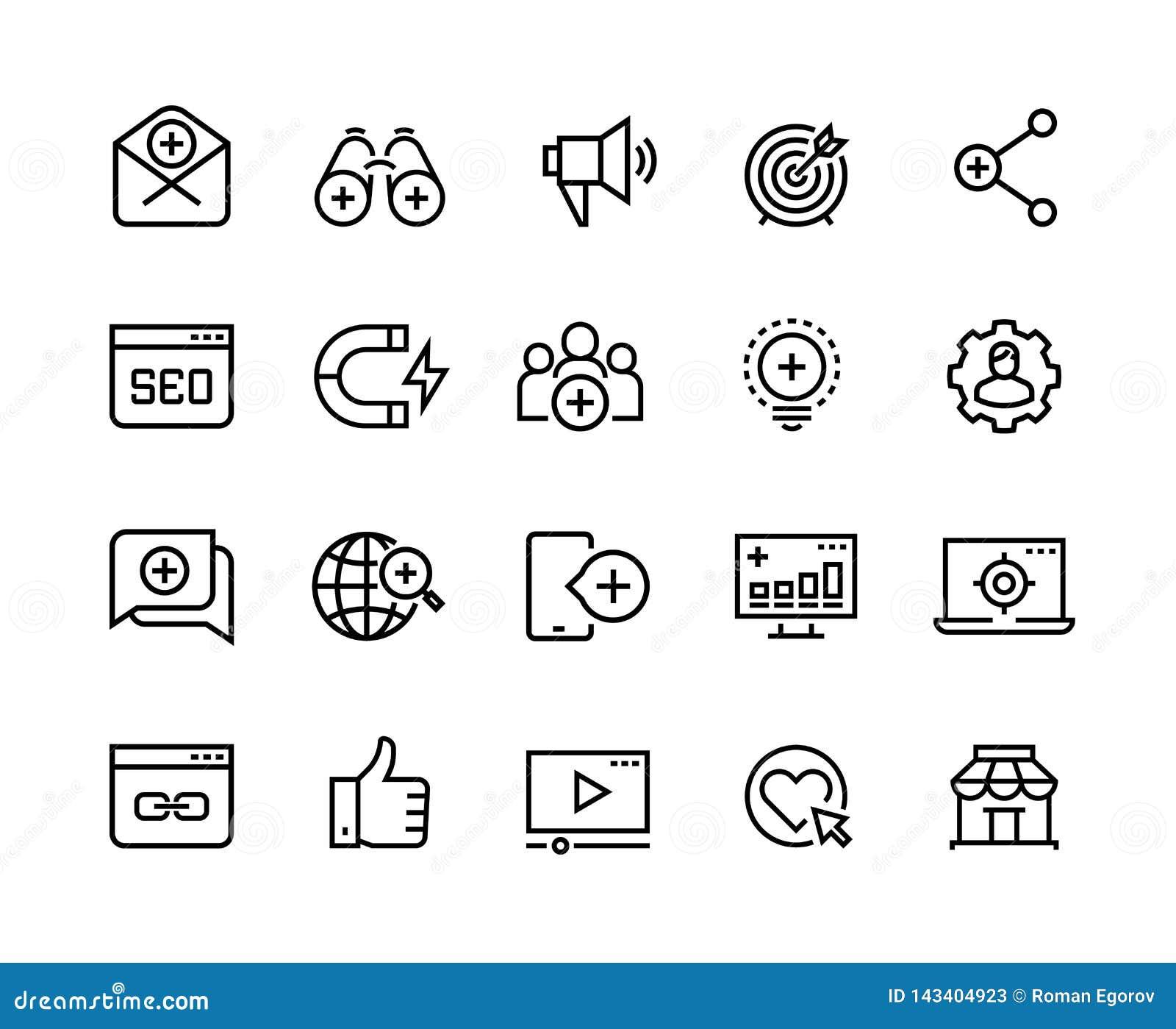Ligne de commercialisation d arrivée icônes Médias sociaux d avance, influence d action et attraction de commercialisation de pub