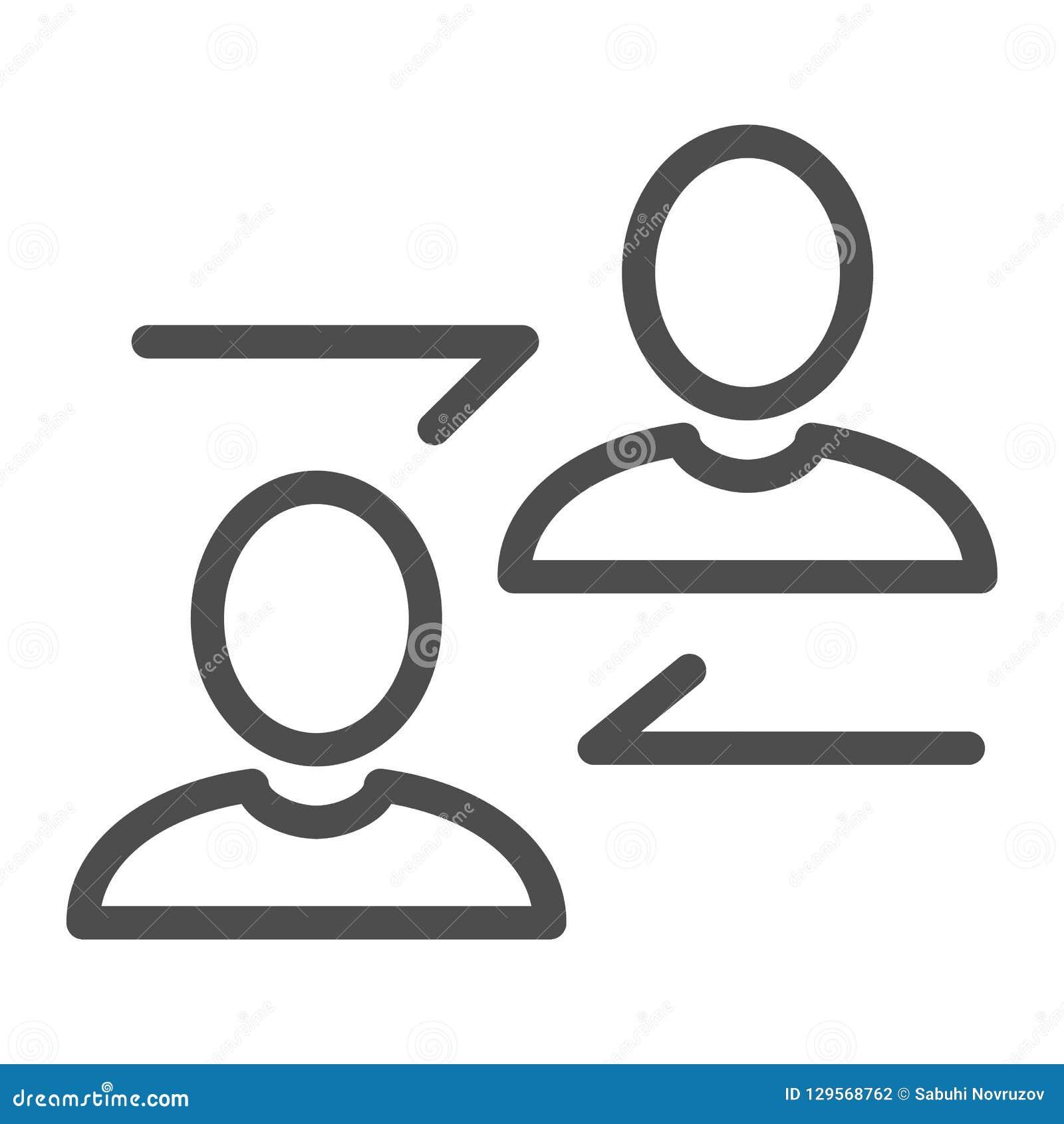 Ligne de communication icône Les gens dirigent l illustration d isolement sur le blanc Communiquez la conception de style d ensem