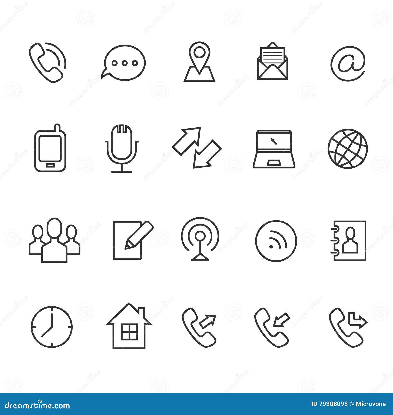 Ligne De Communication Icnes Vecteur Pour La Carte Visite Professionnelle