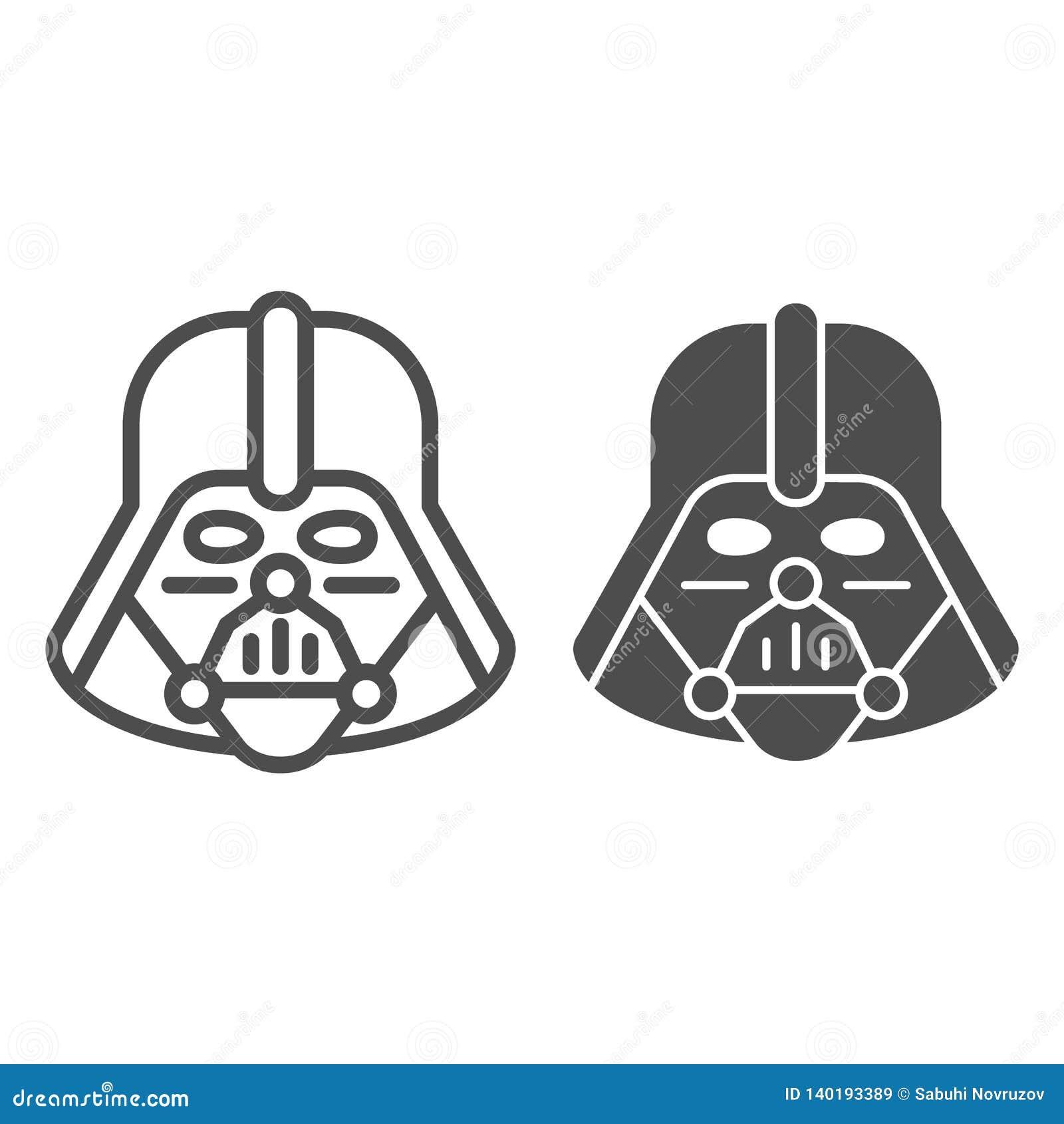 Ligne de Darth Vader et icône de glyph Illustration de vecteur de Star Wars d isolement sur le blanc Conception de style de conto