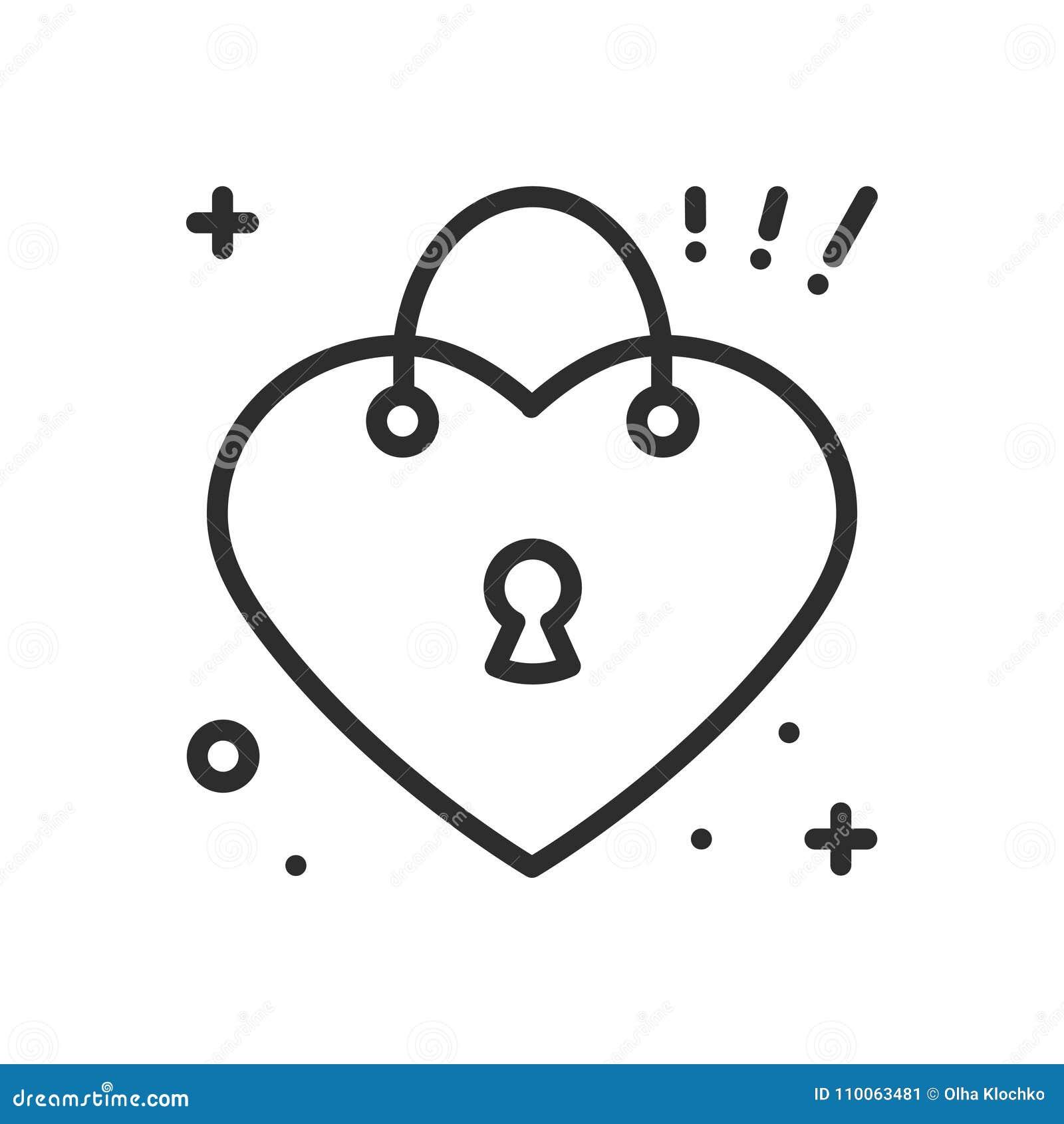 Complètement et à l'extrême Ligne De Serrure De Coeur Icône Signe Et Symbole D'amour Amour @CI_55