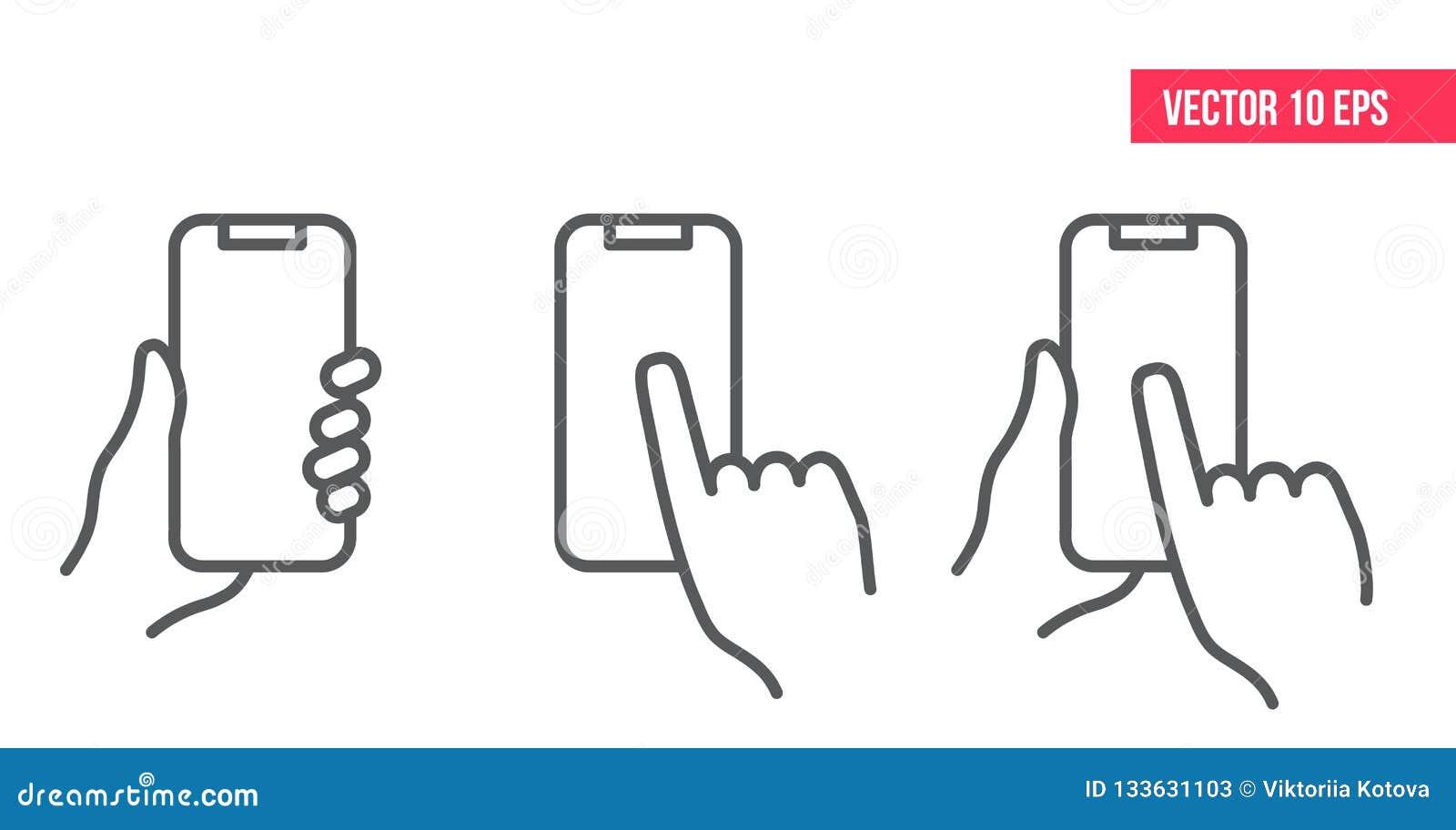 Ligne de téléphone portable icône nHand tenant le smartphone