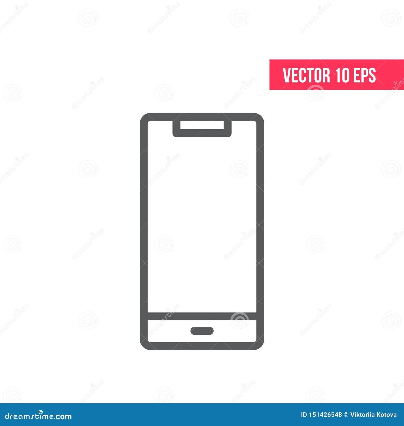 Ligne de t?l?phone portable ic?ne Smartphone avec le vecteur blanc eps10 d ?cran