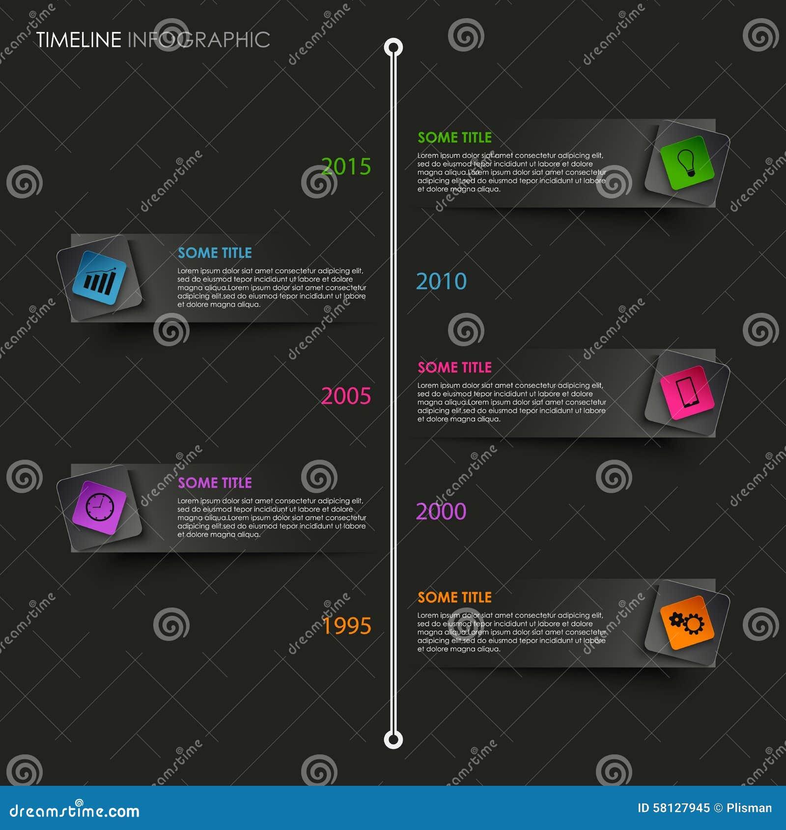 ligne de temps graphique d 39 infos avec l 39 indicateur color sur le fond noir illustration de. Black Bedroom Furniture Sets. Home Design Ideas