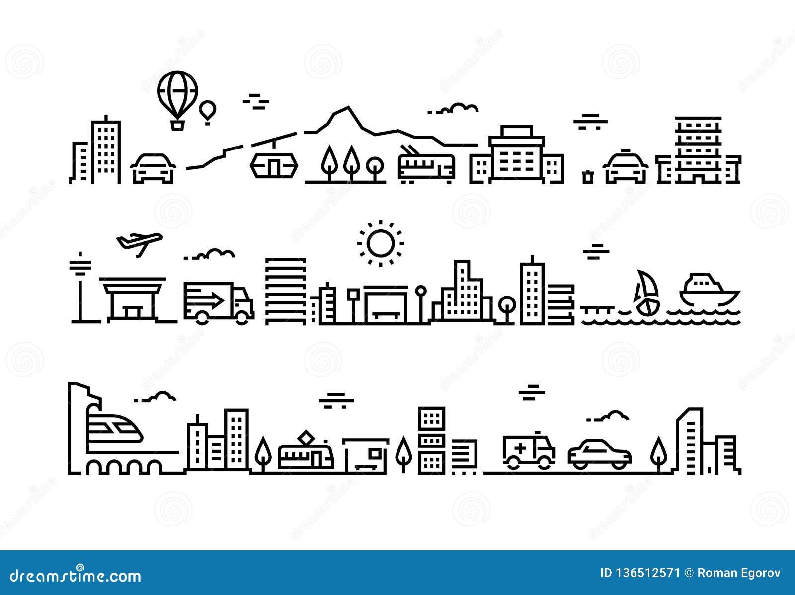 Ligne de ville paysage Mail suburbain de maison d immeubles de bureaux d environnement de gratte-ciel public urbain de parc Trans