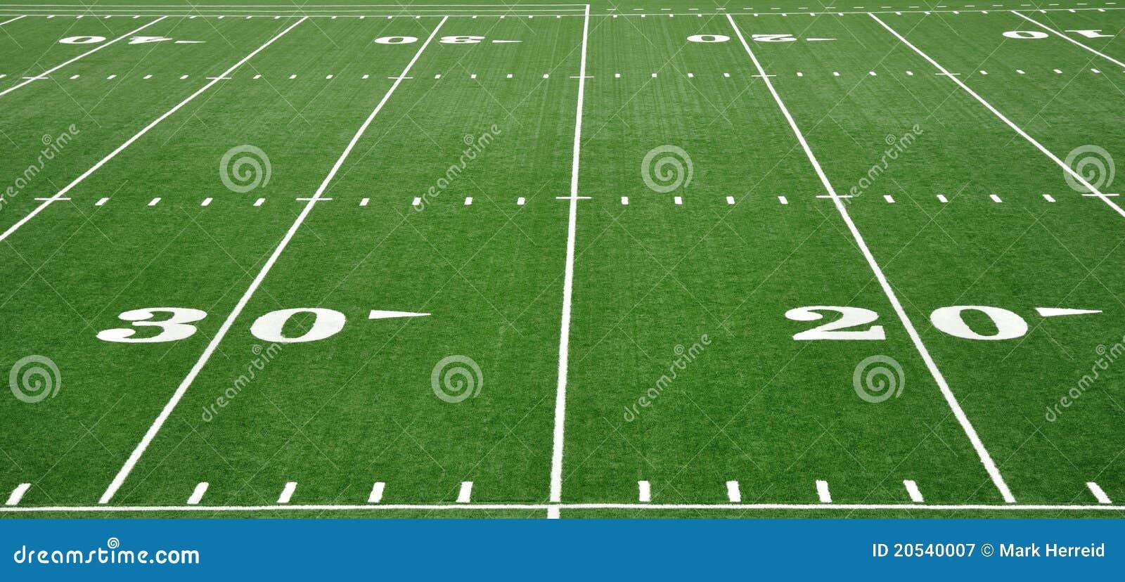 Ligne du yard 20 et 30 sur la zone de football américain