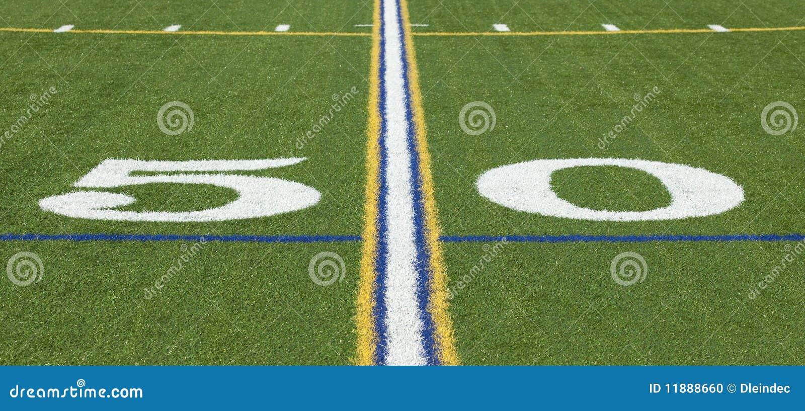 Ligne du yard 50 sur un terrain de football