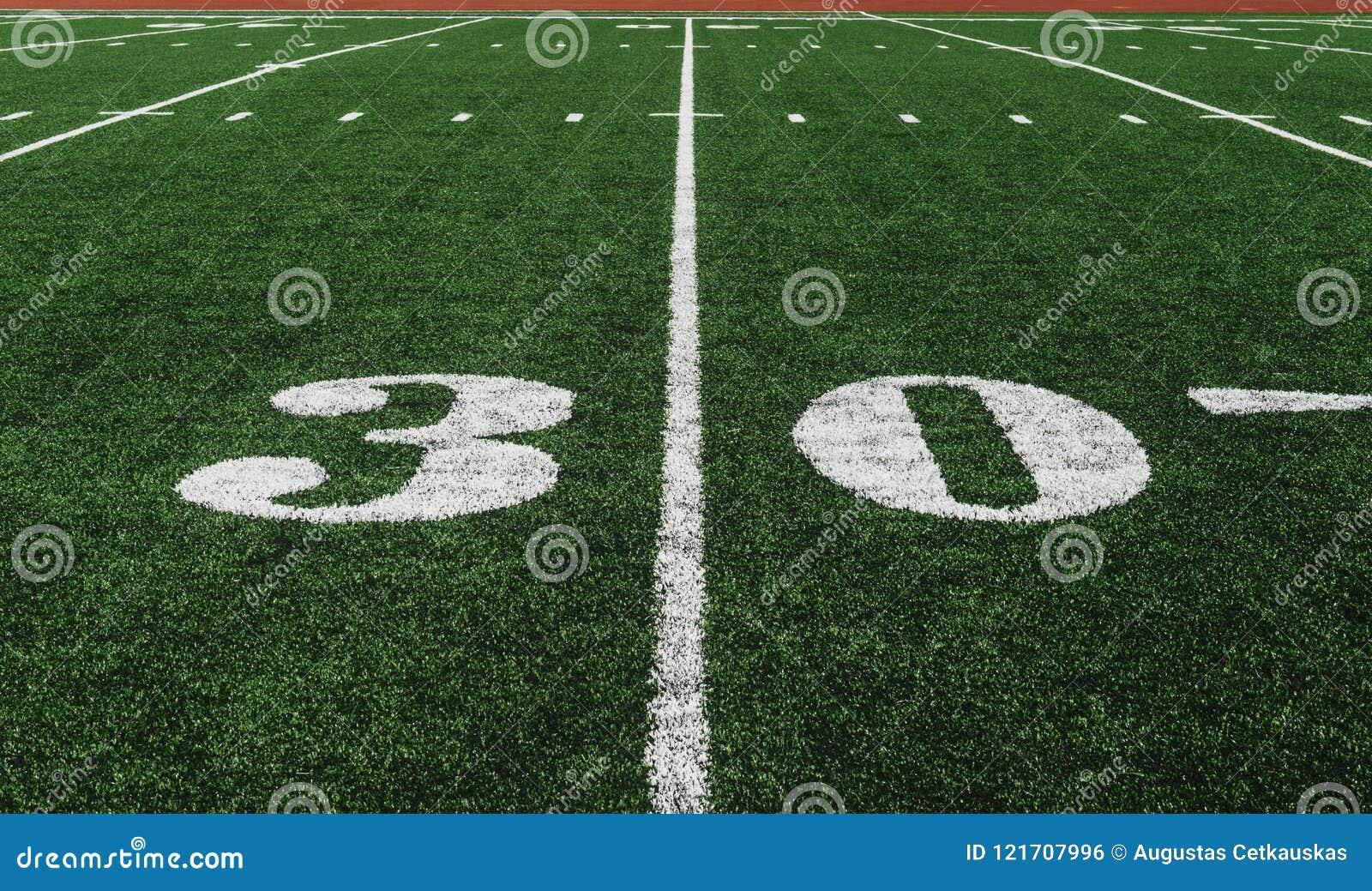 Ligne du yard 30 sur la zone de football américain