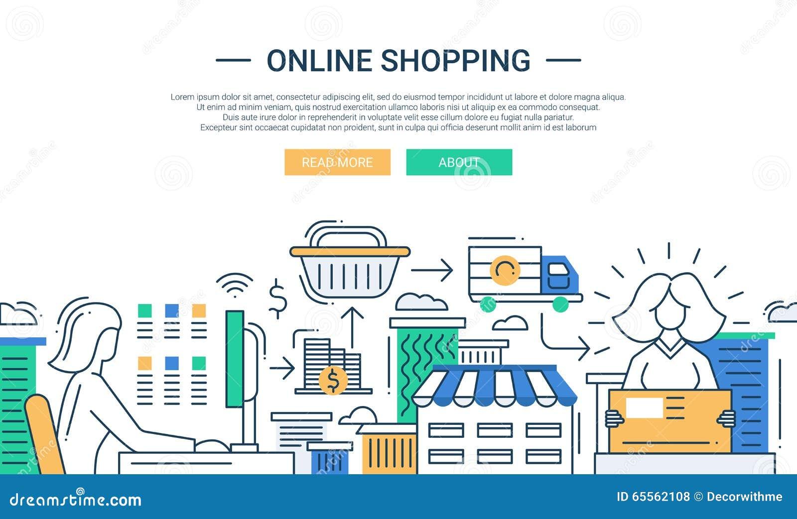 Ligne en ligne d 39 achats banni re plate de conception avec for Conception d architecture en ligne