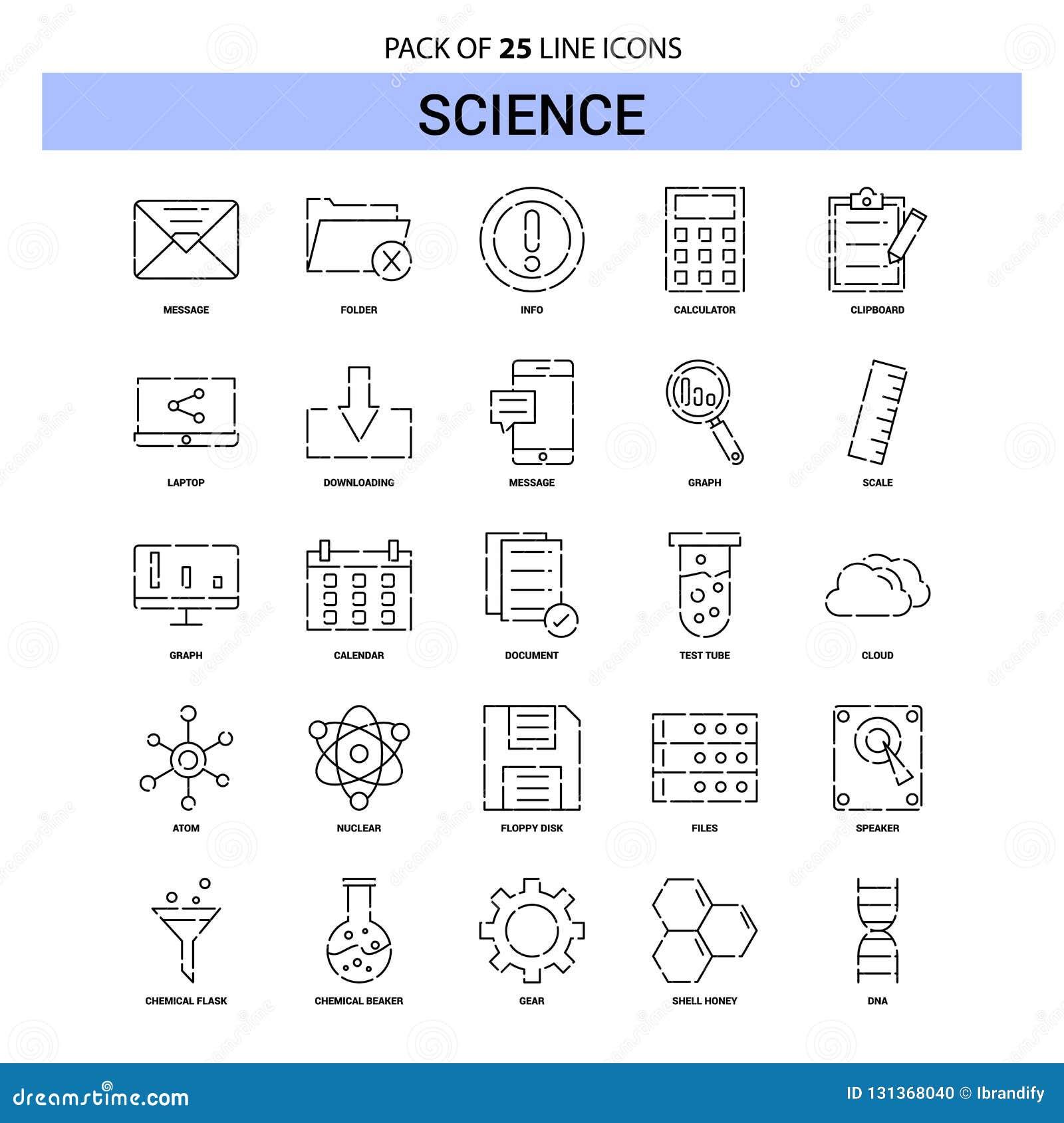 Ligne ensemble d icône - style à tiret de la Science d ensemble 25