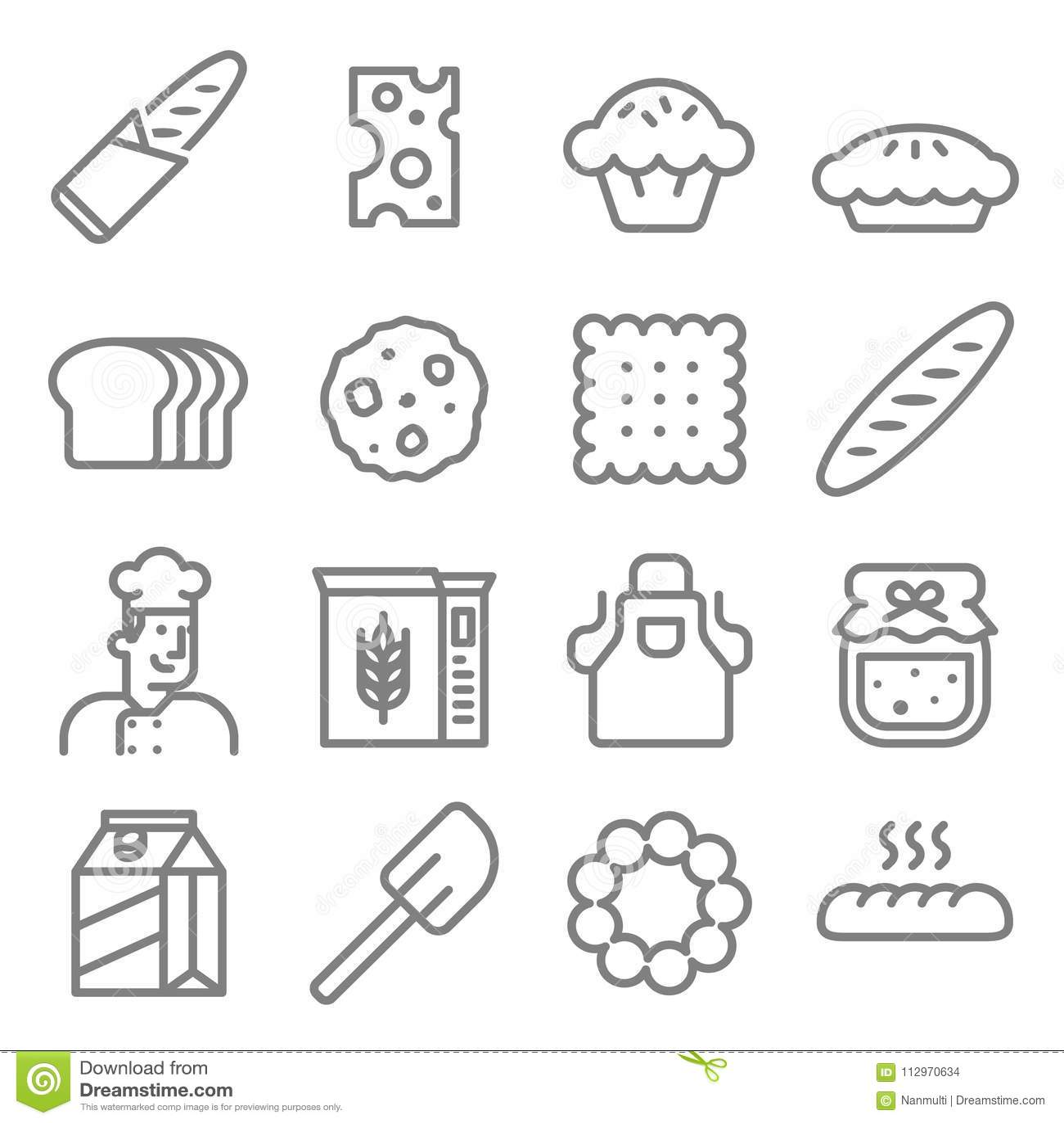 Ligne ensemble de boulanger de boulangerie d icône