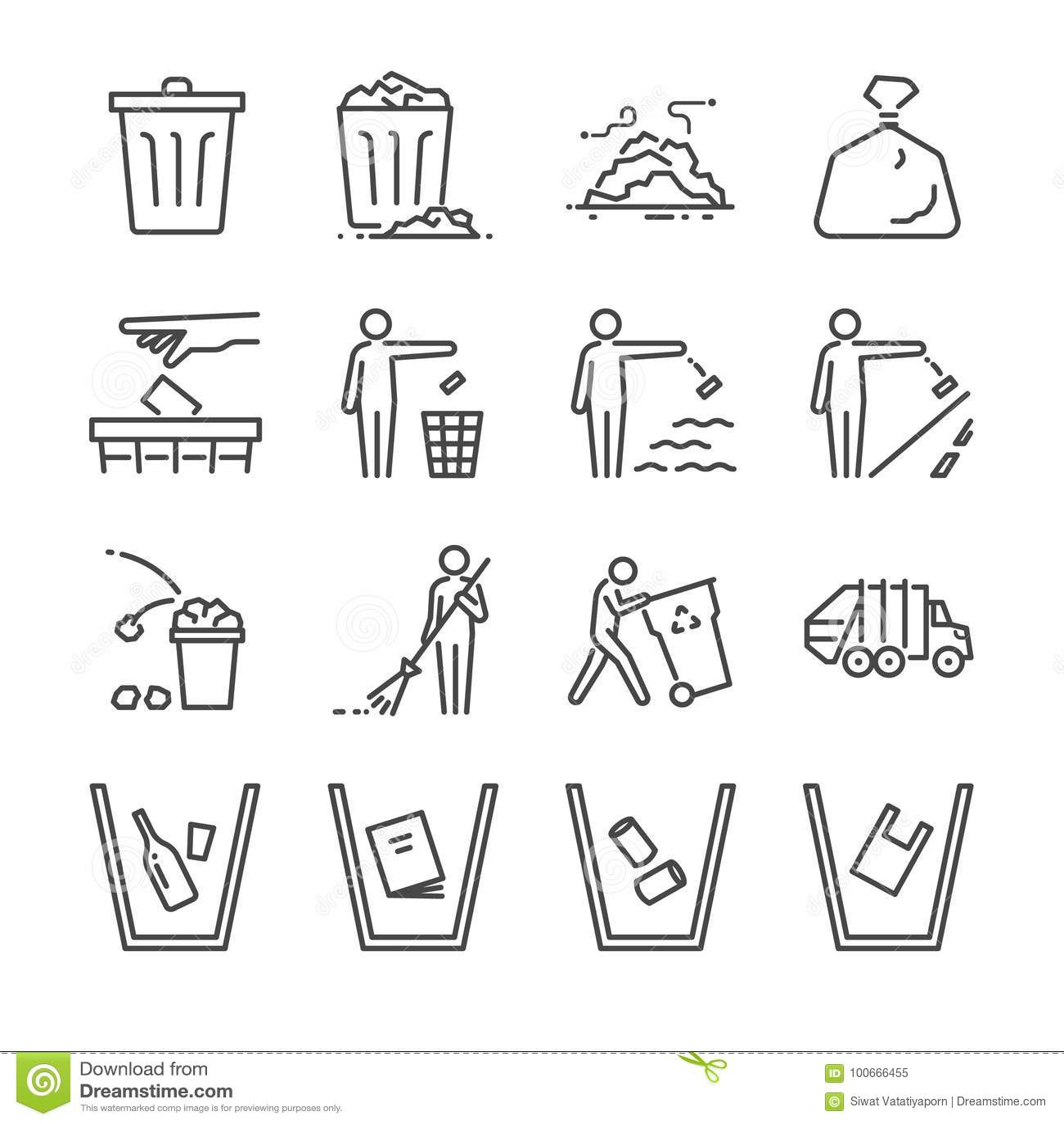 Ligne ensemble de déchets d icône A inclus les icônes comme déchets, décharge, ordures, poubelle, champ, ordures et plus