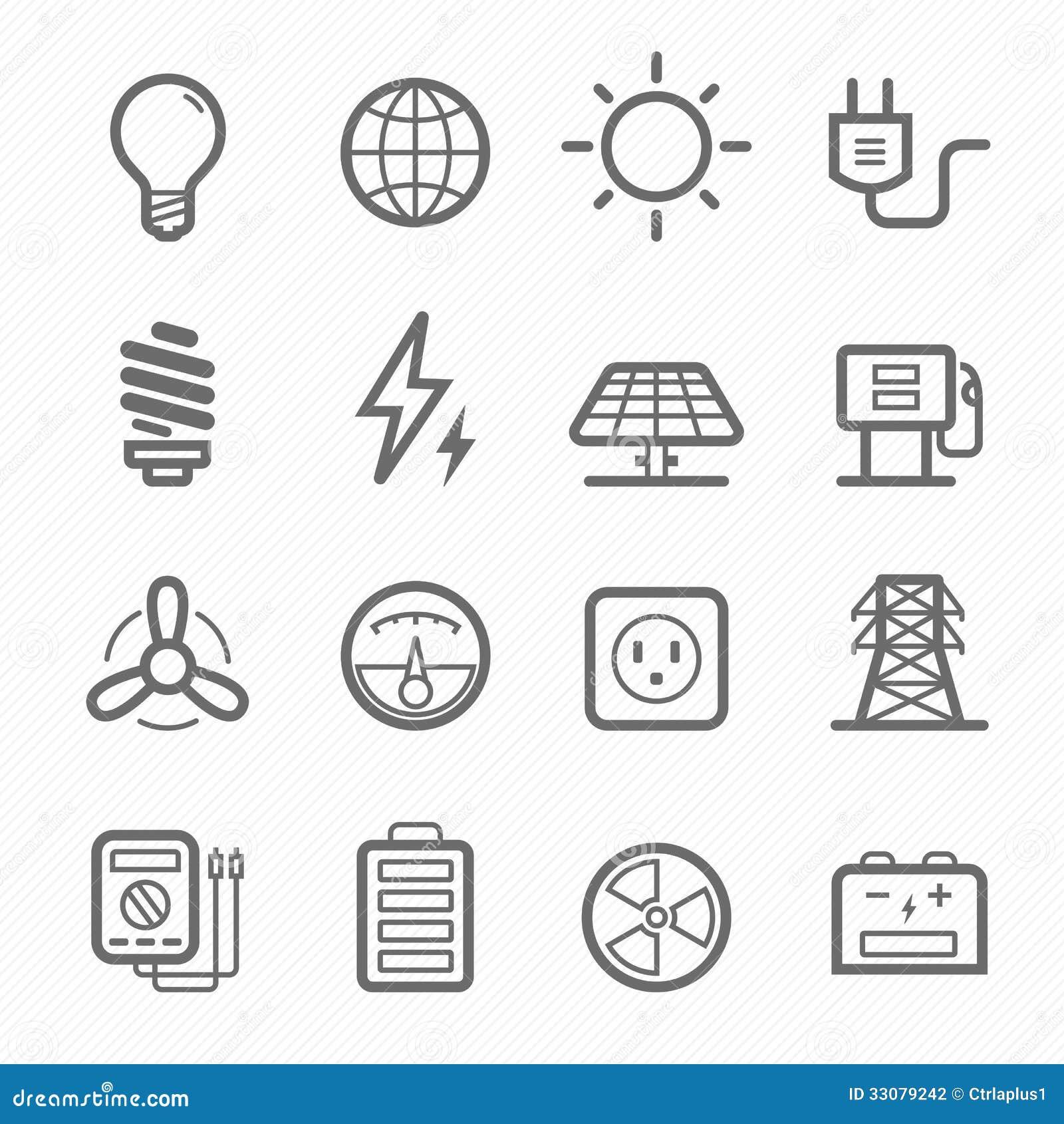 Ligne ensemble de symbole de puissance d icône