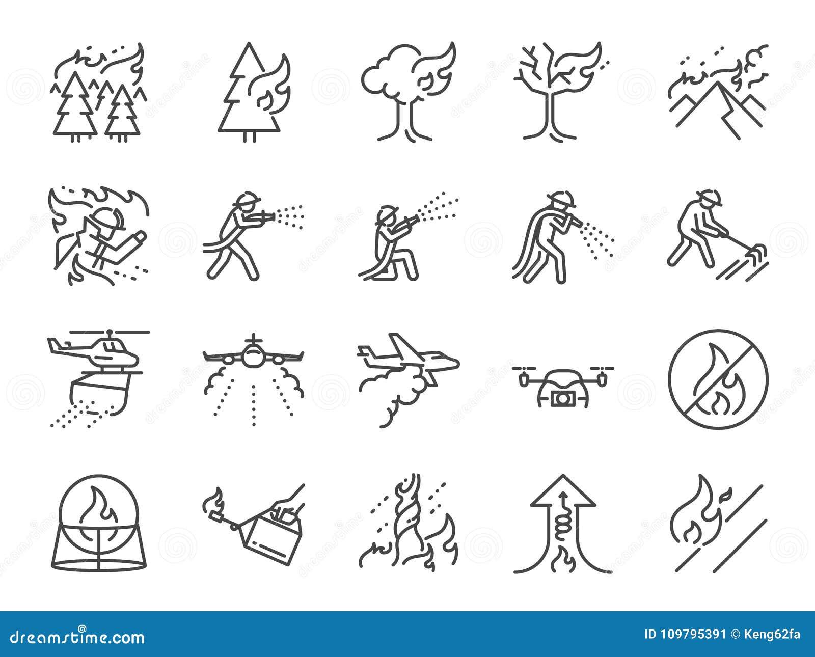 Ligne ensemble du feu de forêt d icône A inclus les icônes comme tempête de feu, lutte contre l incendie, sapeur-pompier, s étein