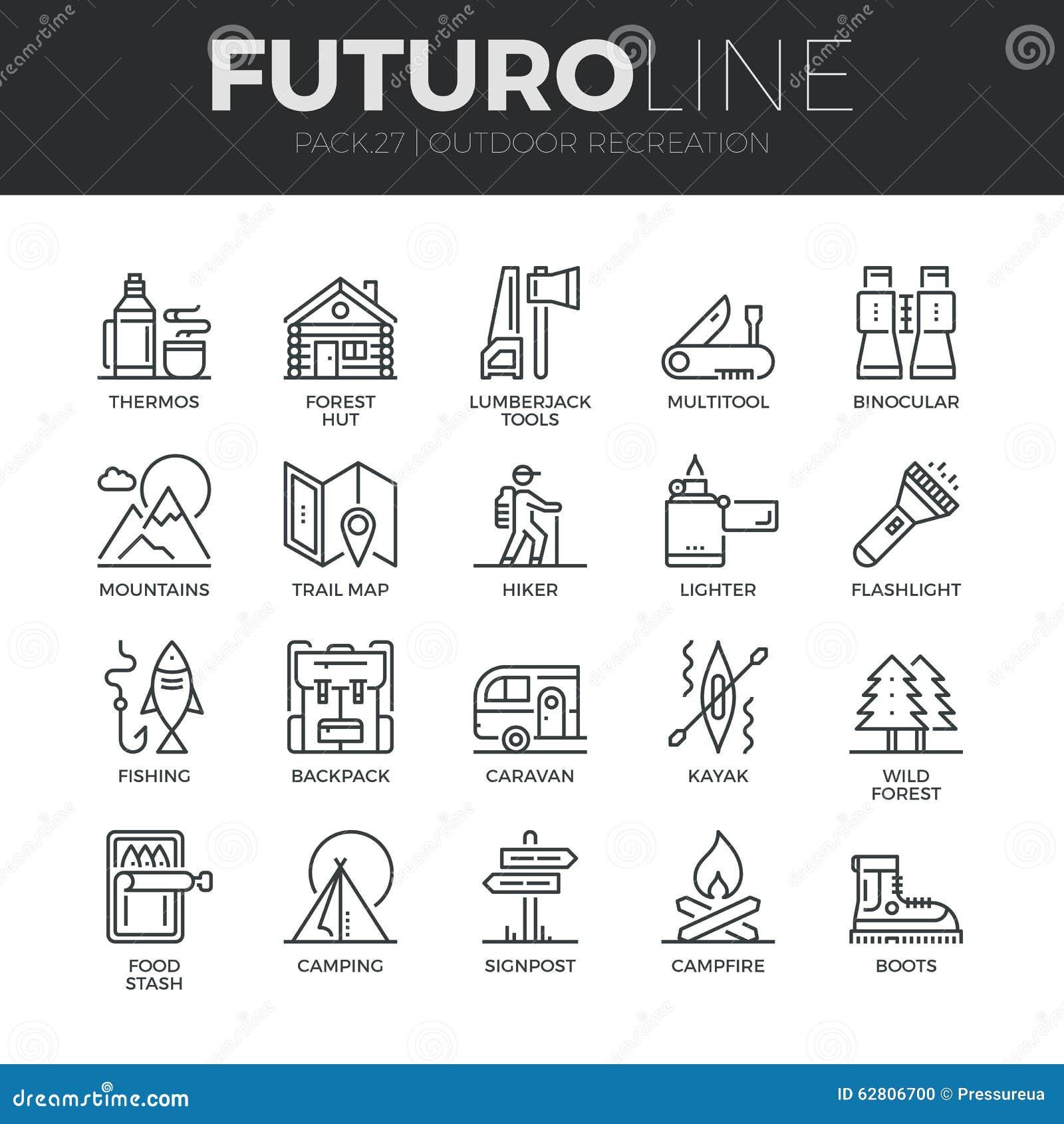 Ligne extérieure icônes de Futuro de récréation réglées