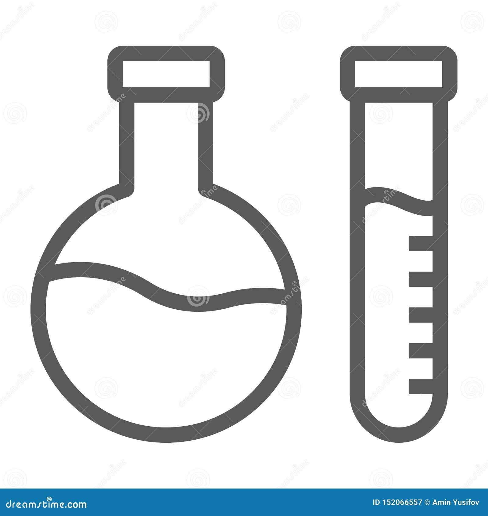 Ligne icône d analyse chimique, laboratoire et flacon, signe d essai de tube, graphiques de vecteur, un modèle linéaire sur un bl