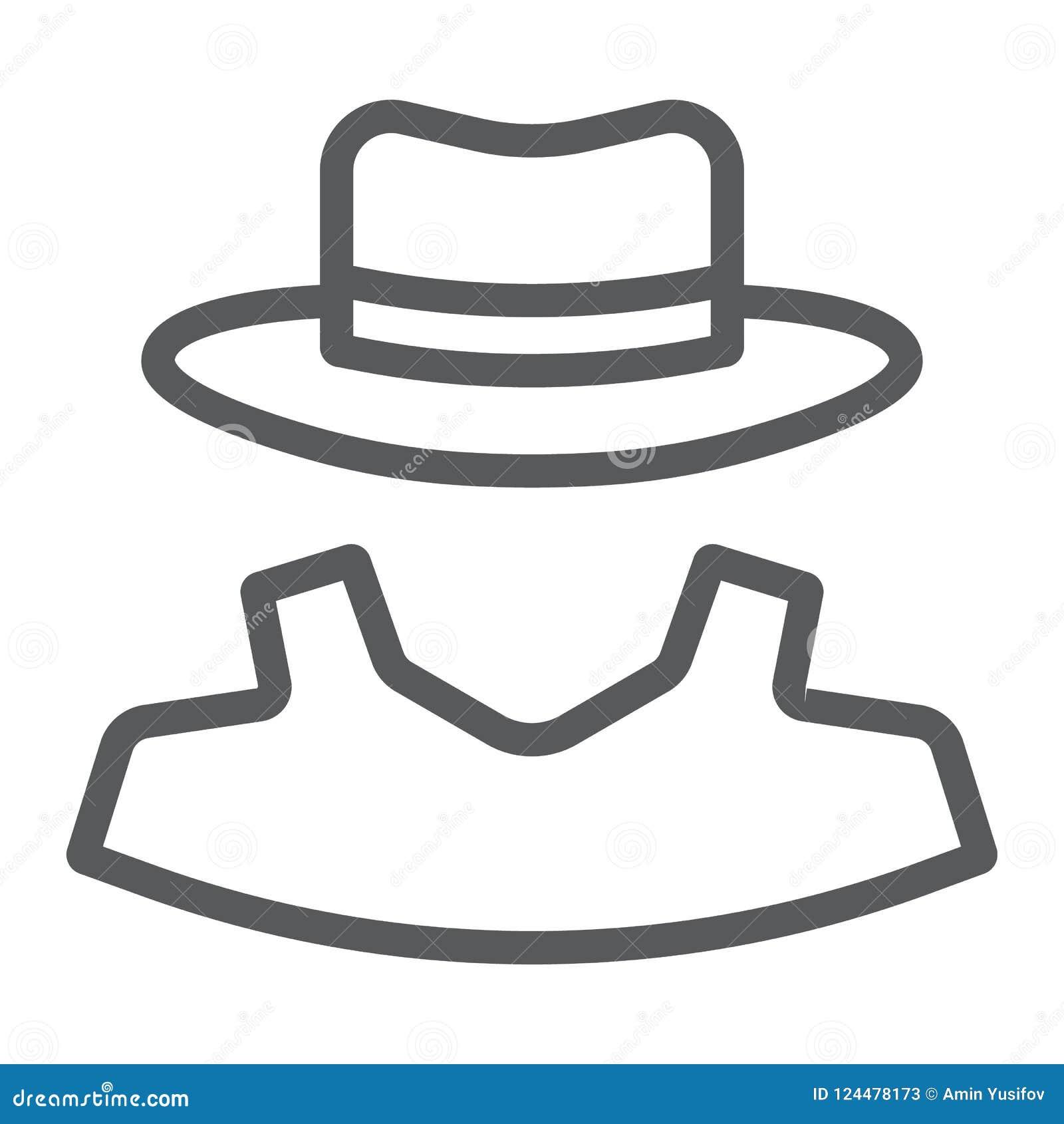 Ligne icône d anonymat, révélateur et privé