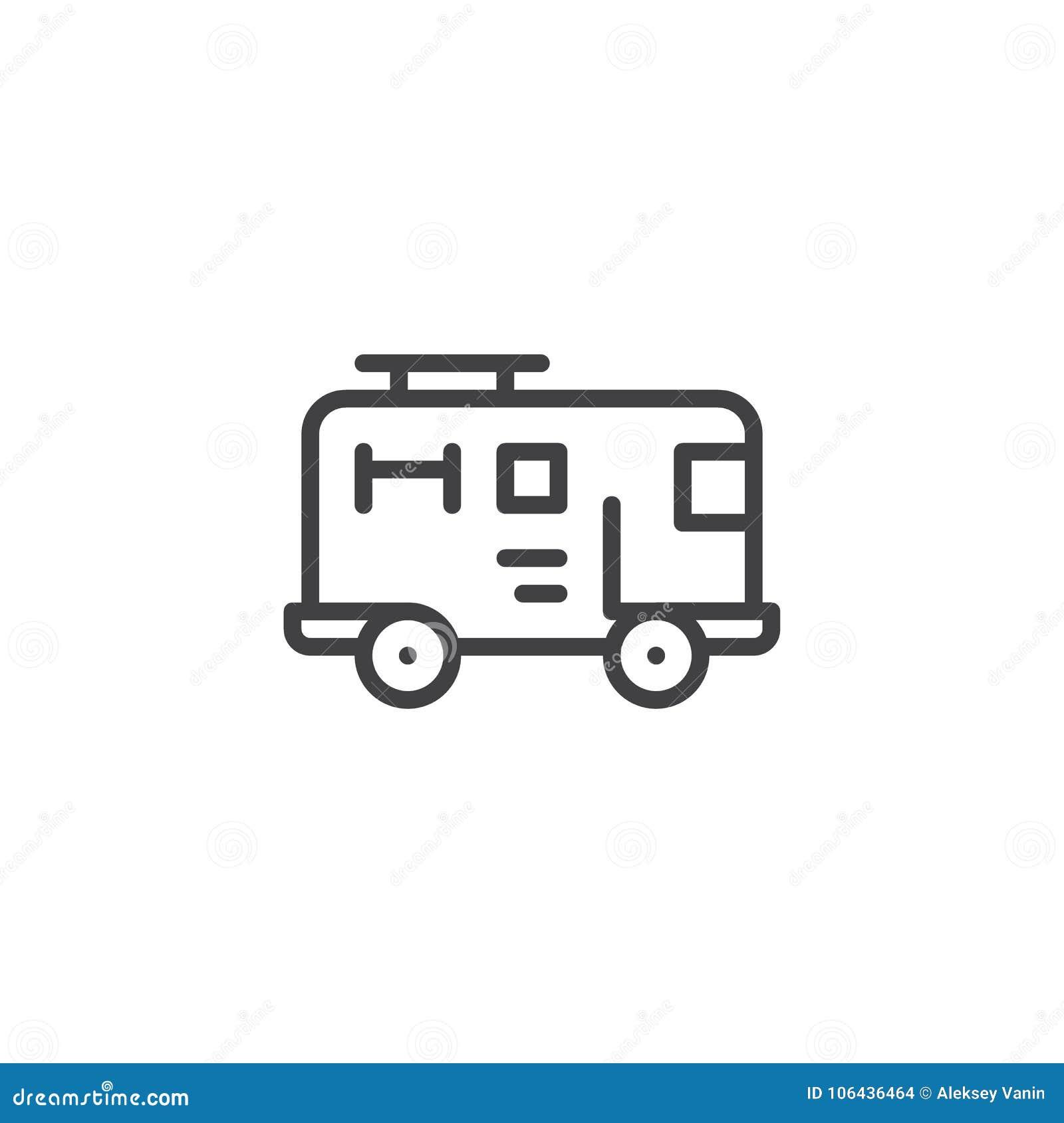 Ligne Icône De Camion De Pompiers Illustration De Vecteur