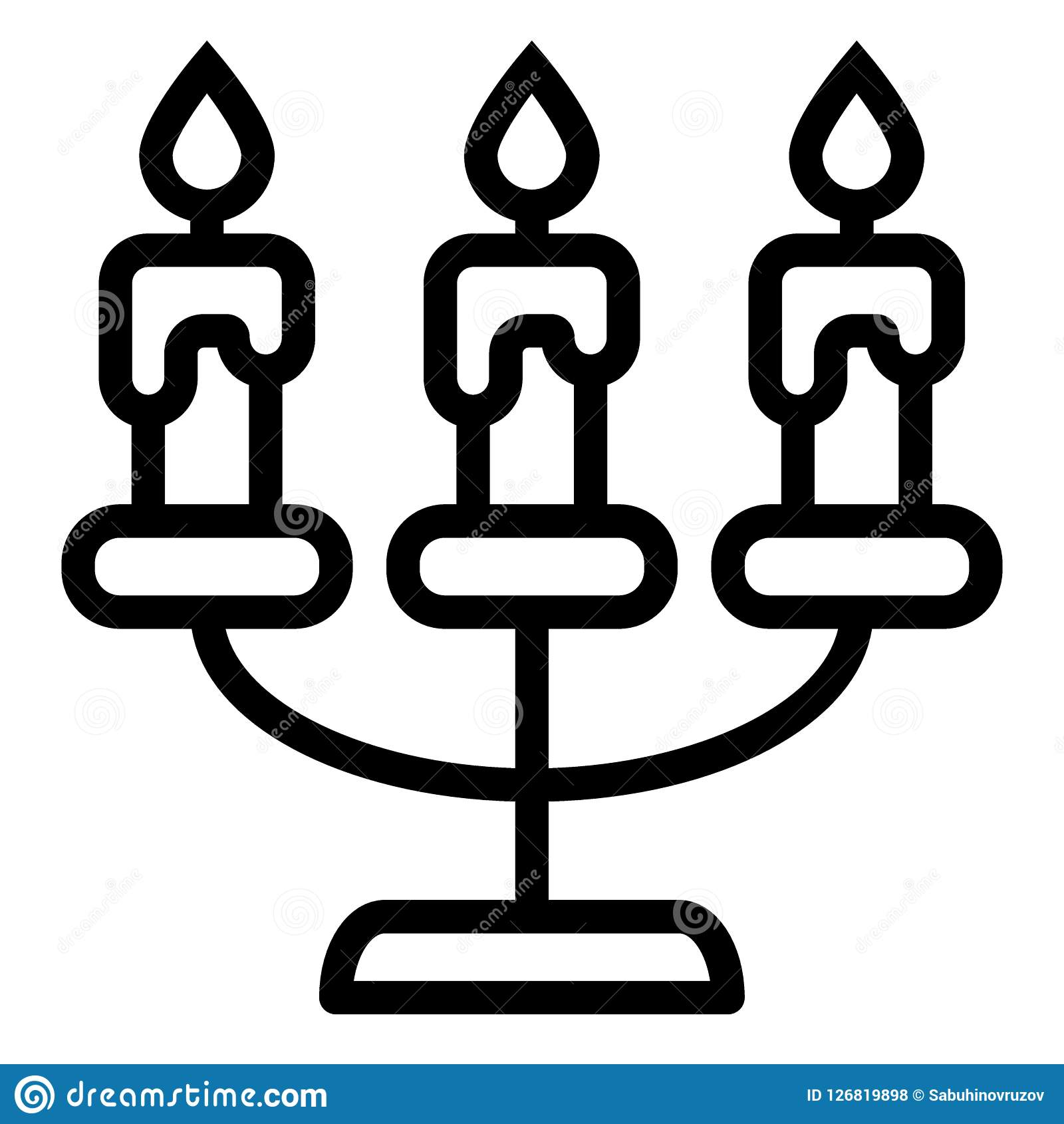Ligne icône de chandelier Illustration de vecteur de candélabre d isolement sur le blanc Bougies d ensemble de conception de styl
