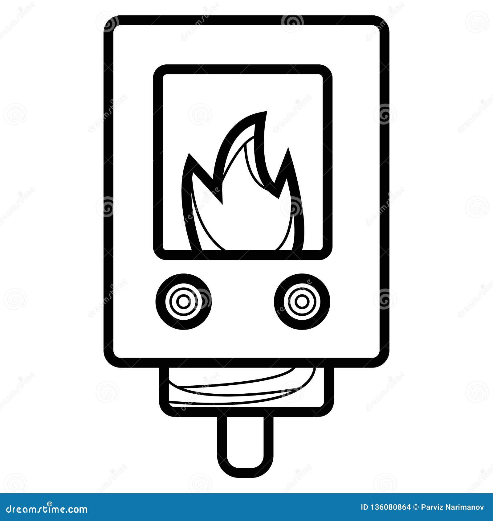 Ligne icône de chauffe-eau