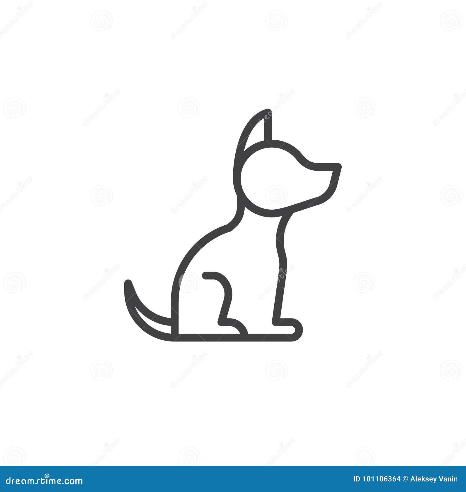 Ligne icône de chien