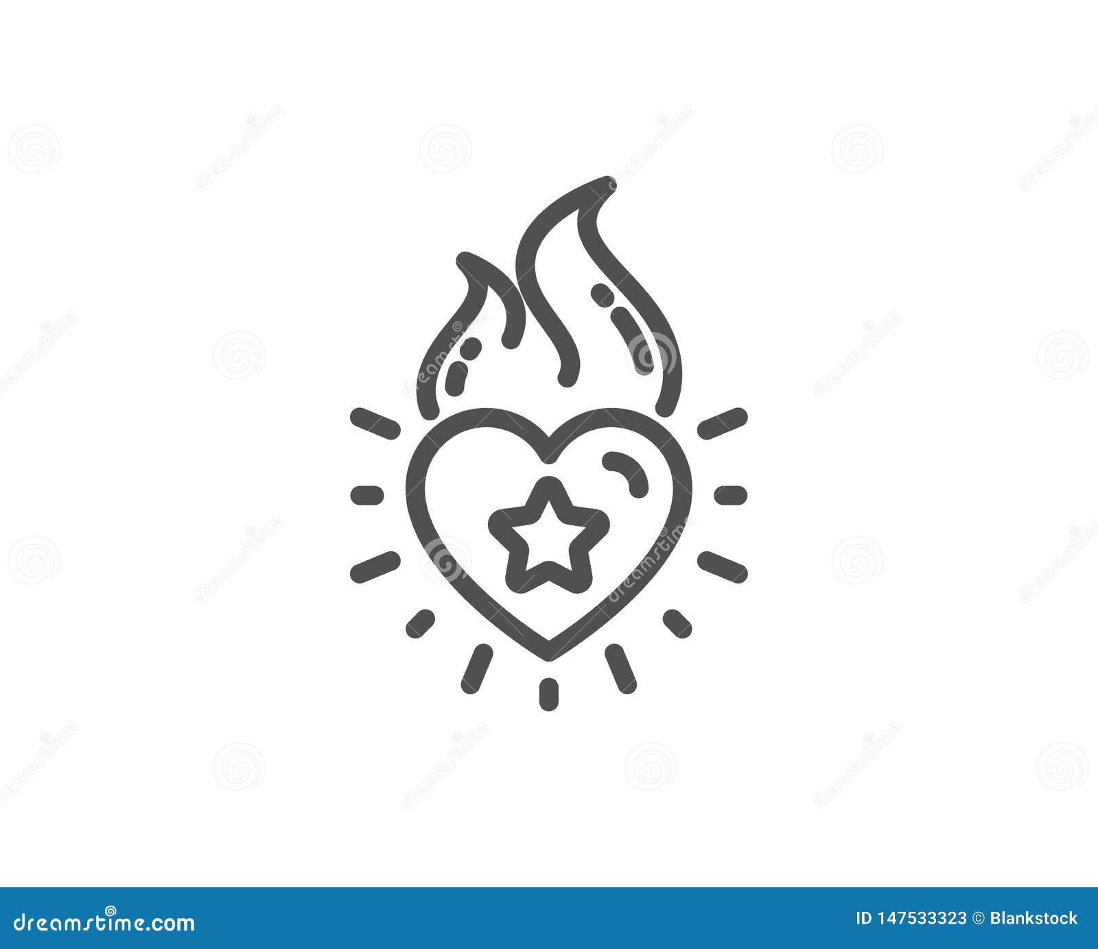 Ligne icône de flamme de coeur Signe d émotion du feu d amour Vecteur