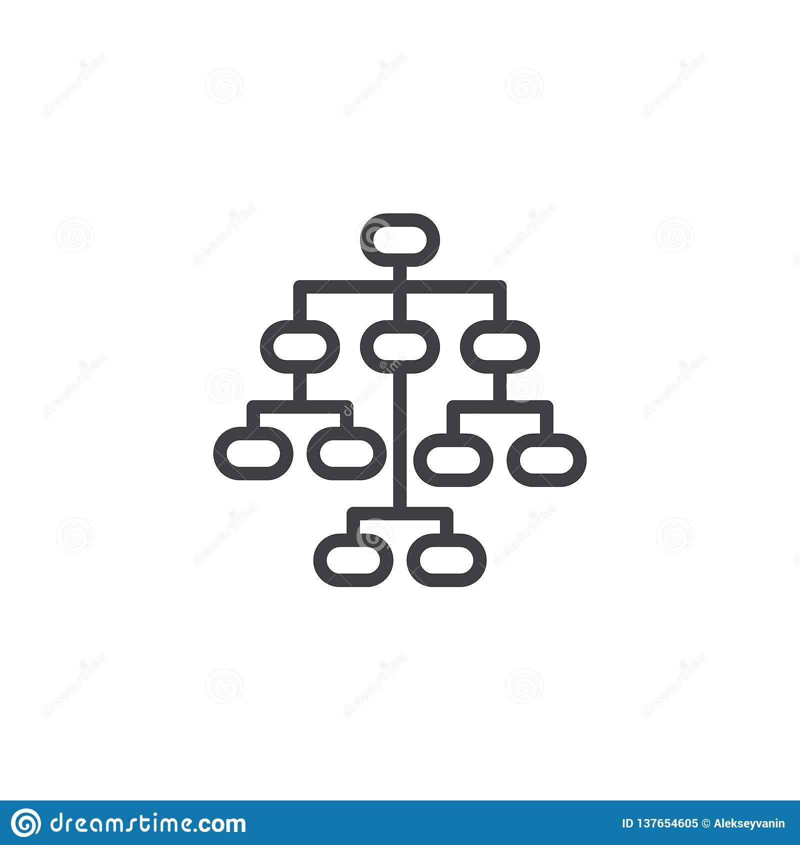 Ligne icône de Sitemap