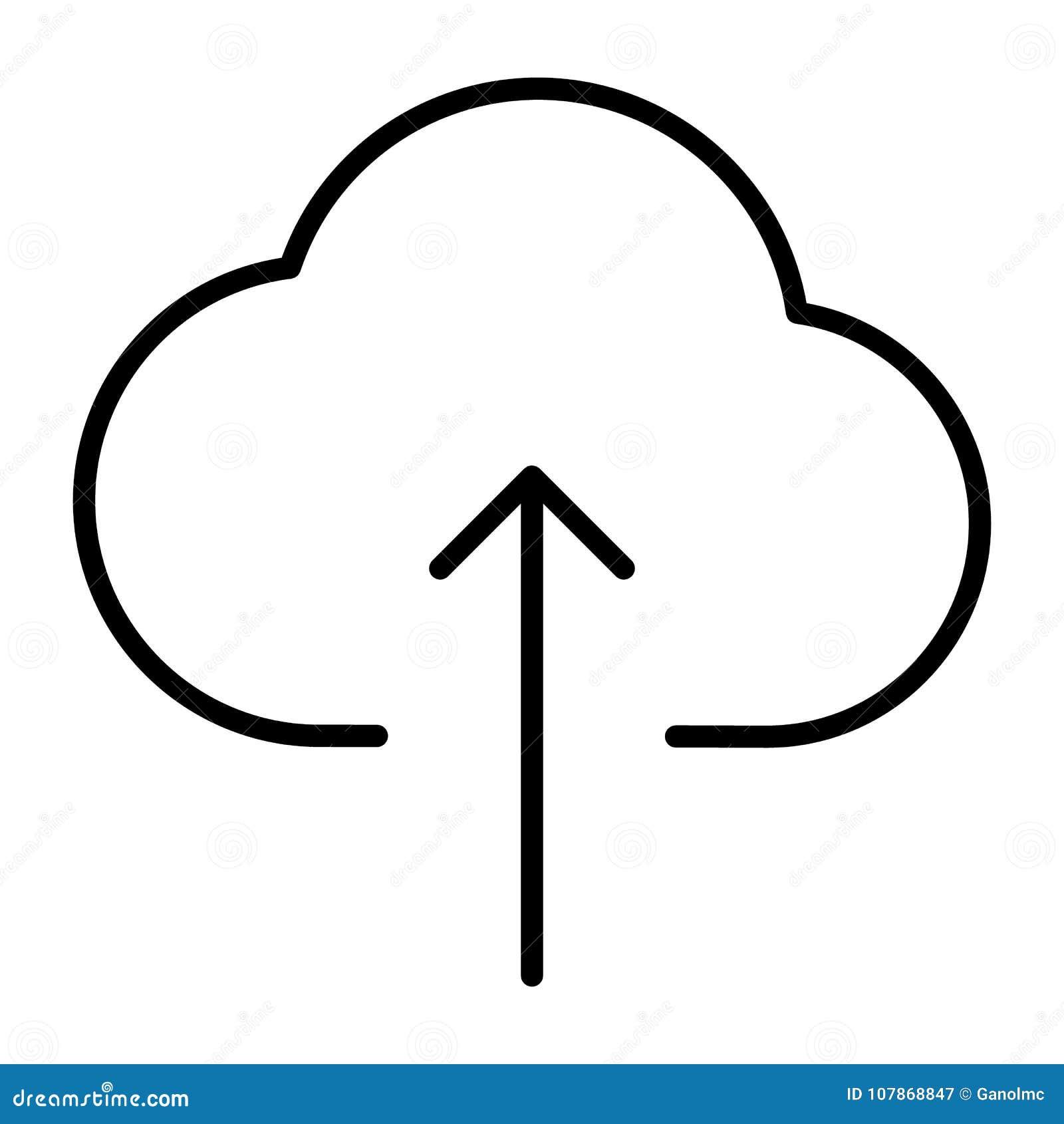 Ligne icône de téléchargement de nuage Pictogramme 96x96 minimal simple de vecteur